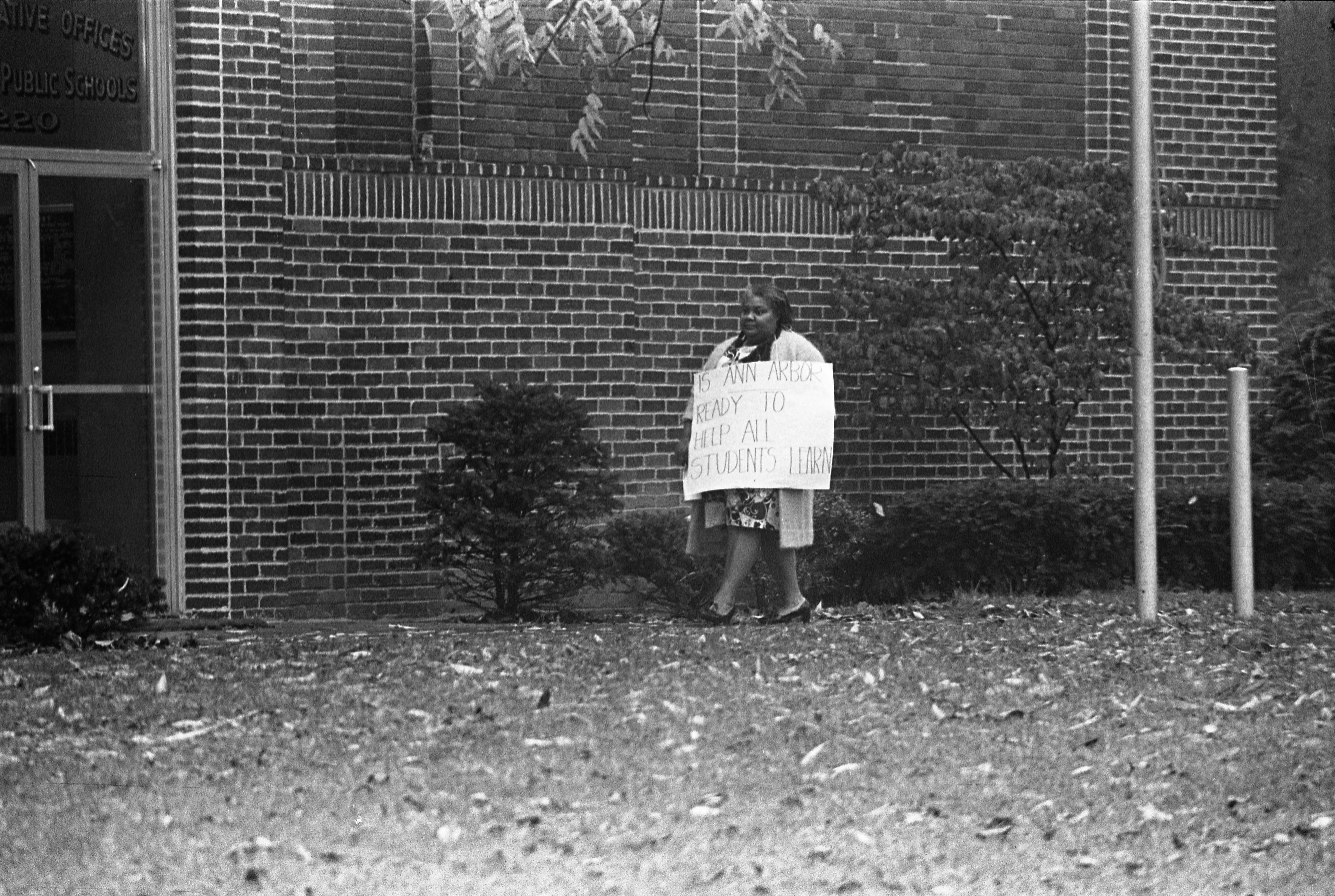 Black Parent Pickets Ann Arbor School Administrative Offices, October 13, 1970 image