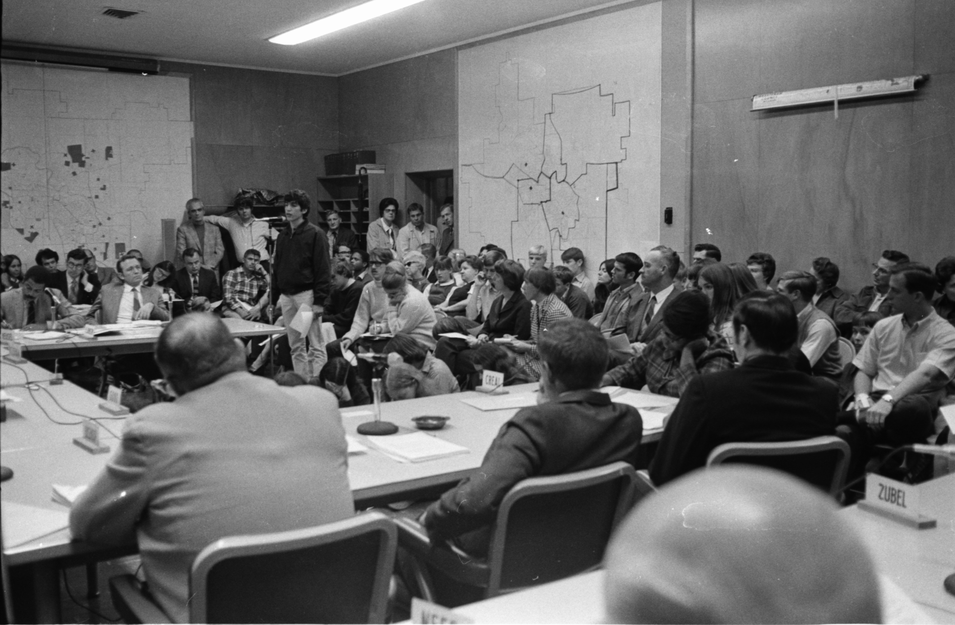 Ann Arbor Board of Education Holds Public Forum On Pioneer High School Riot, November 1970 image