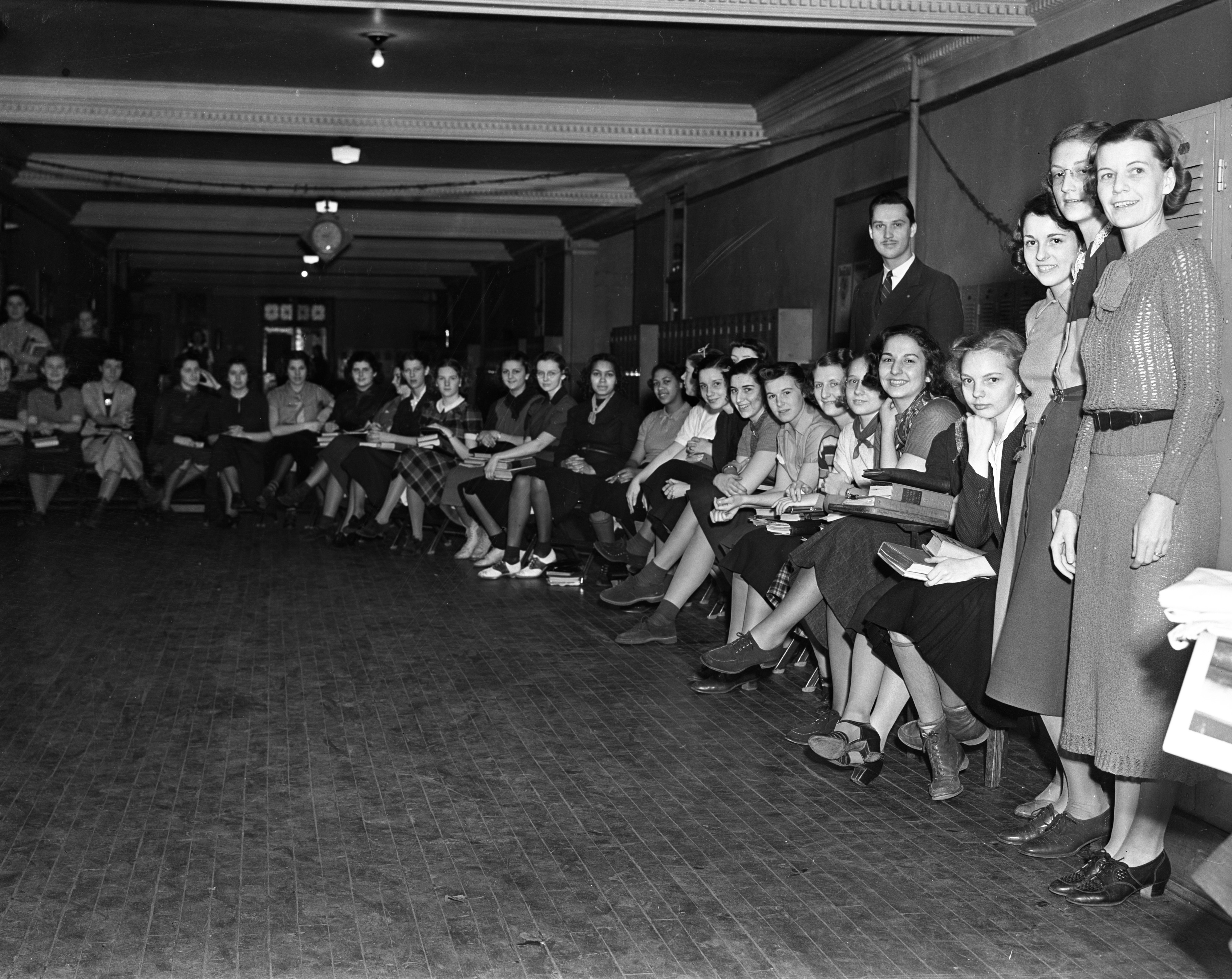 Ann Arbor High School Students Line Up For Tuberculosis Screening, December 1937 image