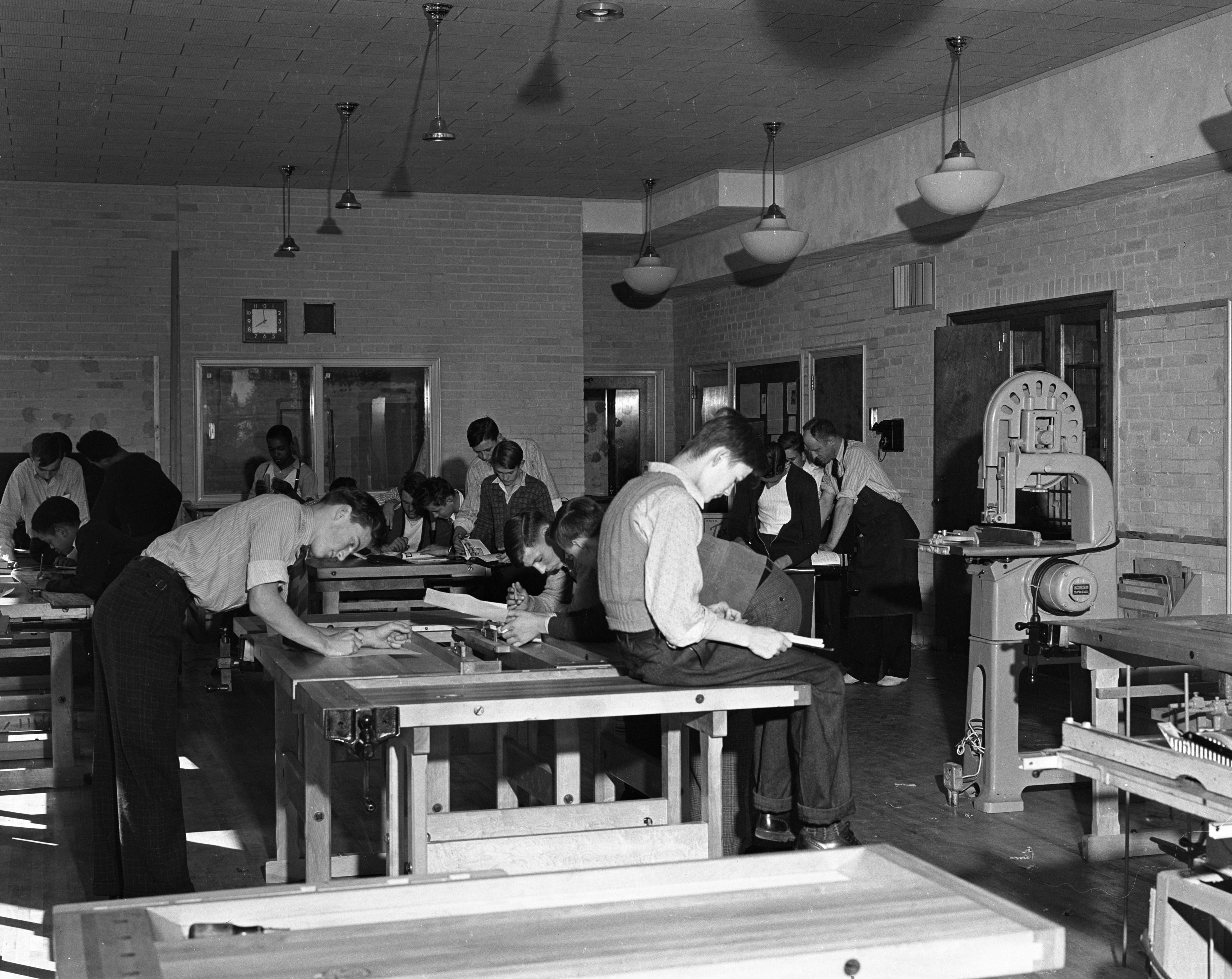 A classroom in the new building addition of Ann Arbor High School, 105 S State St, September 1939 image