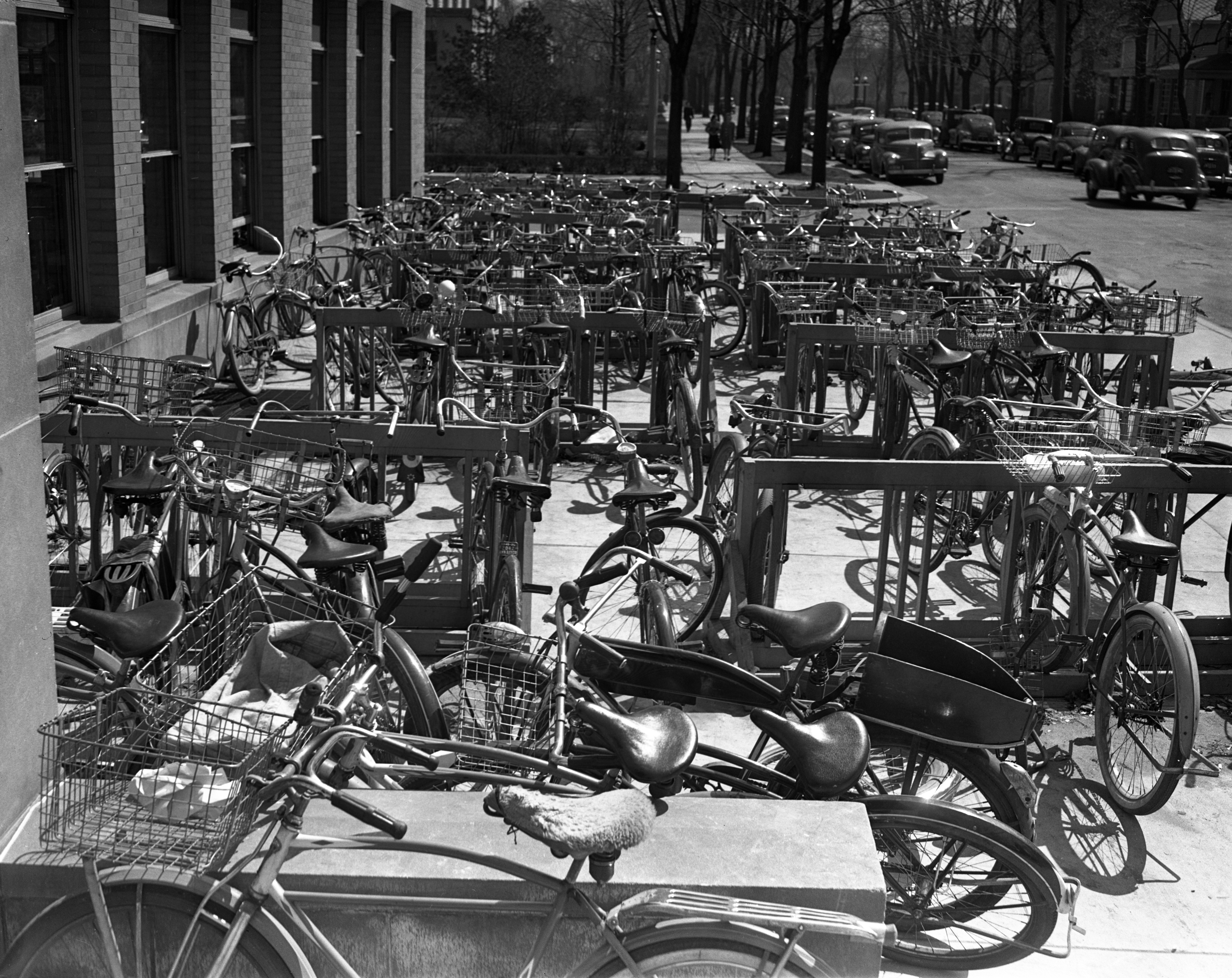 Bicycles at Ann Arbor High School, April 1942 image