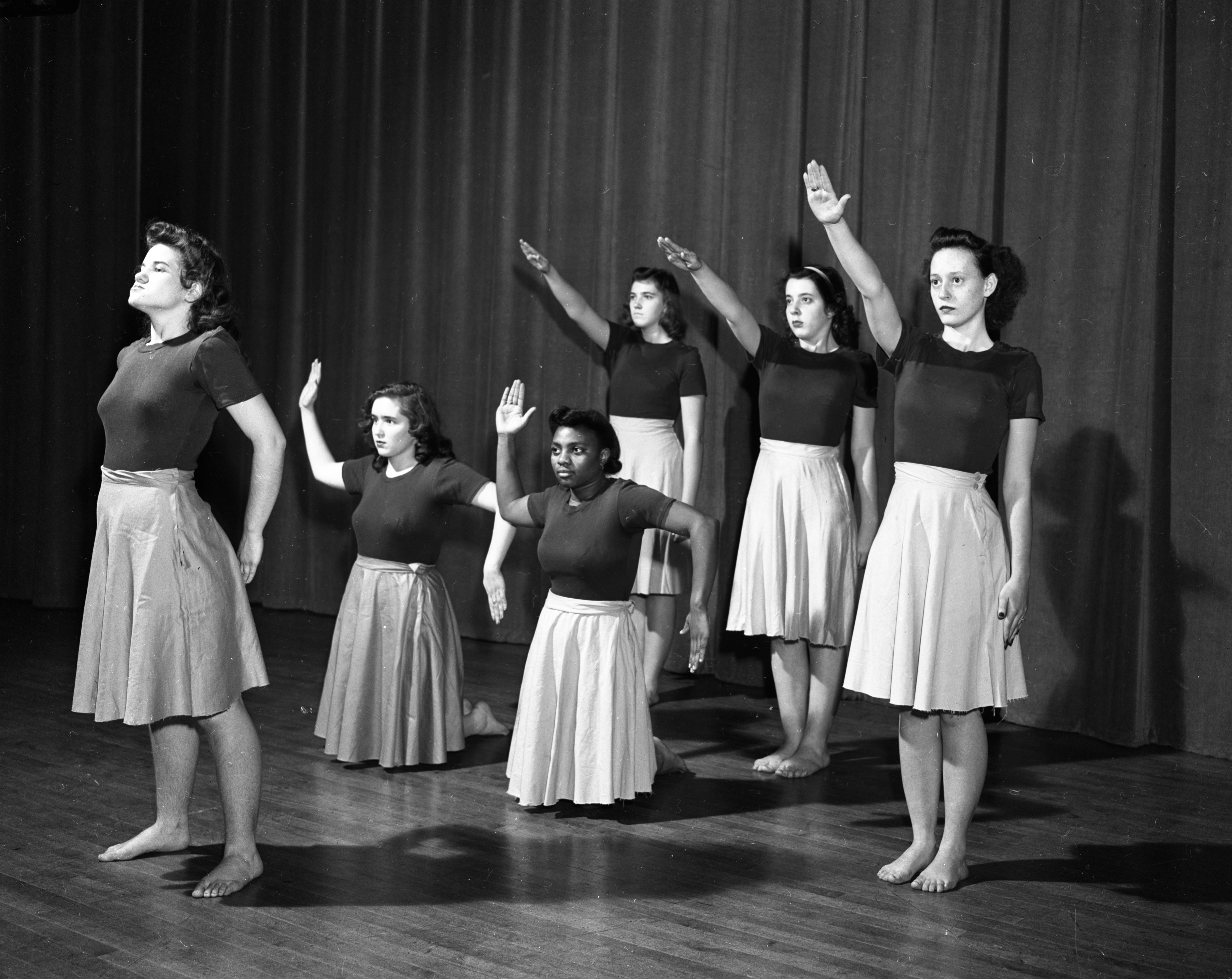 "The Ann Arbor High School Modern Dance Club performs ""Axis Satirical Dance,"" December 1943 image"
