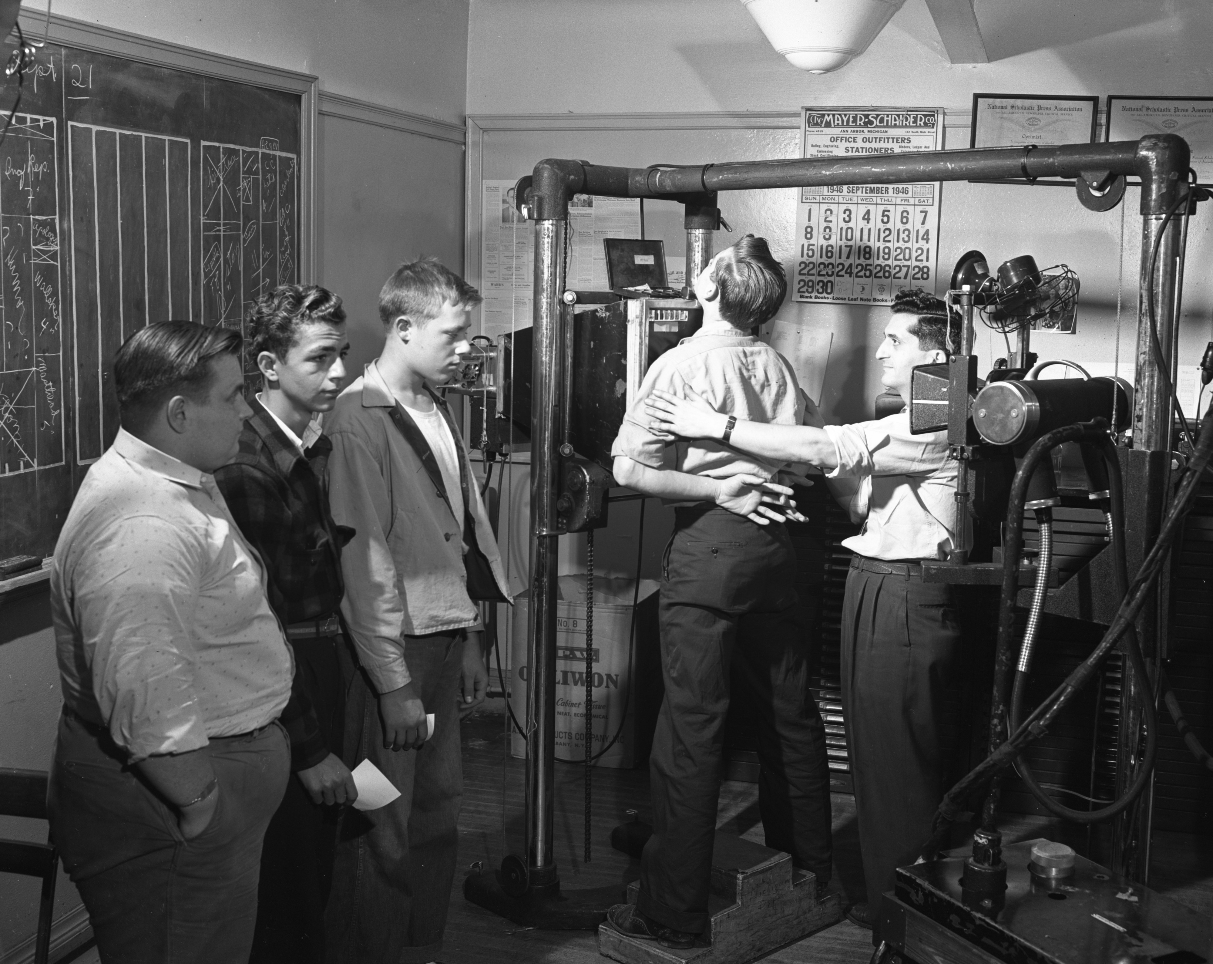 Michigan Department of Health Uses Portable X-Ray Machine to X-Ray Ann Arbor High School Students, September 1946 image