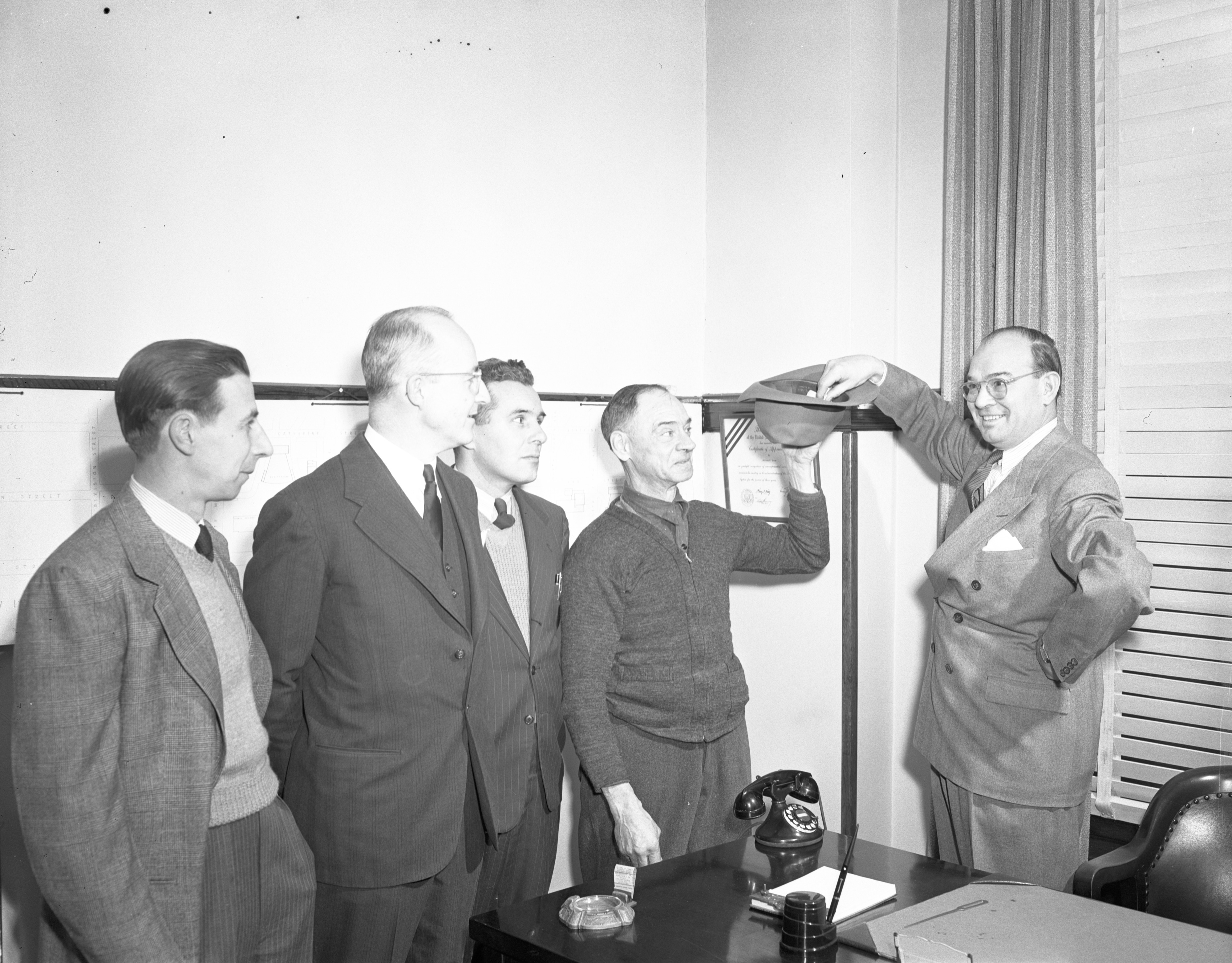 Mayor Brown Selects Purchaser Of Home Built By High School Students, December 1946 image