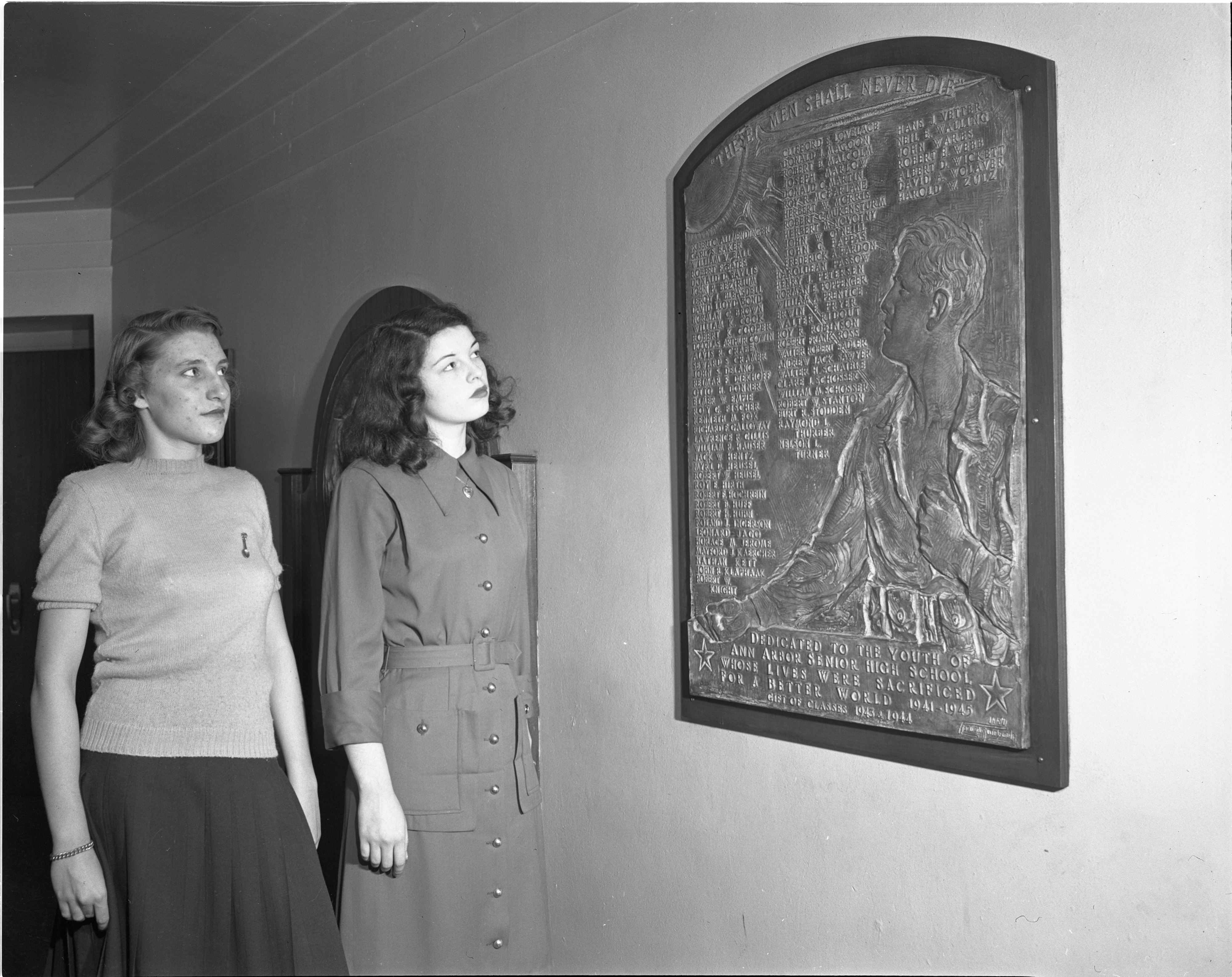 Plaque Honors Ann Arbor High School Students Who Died In World War II, January 1948 image