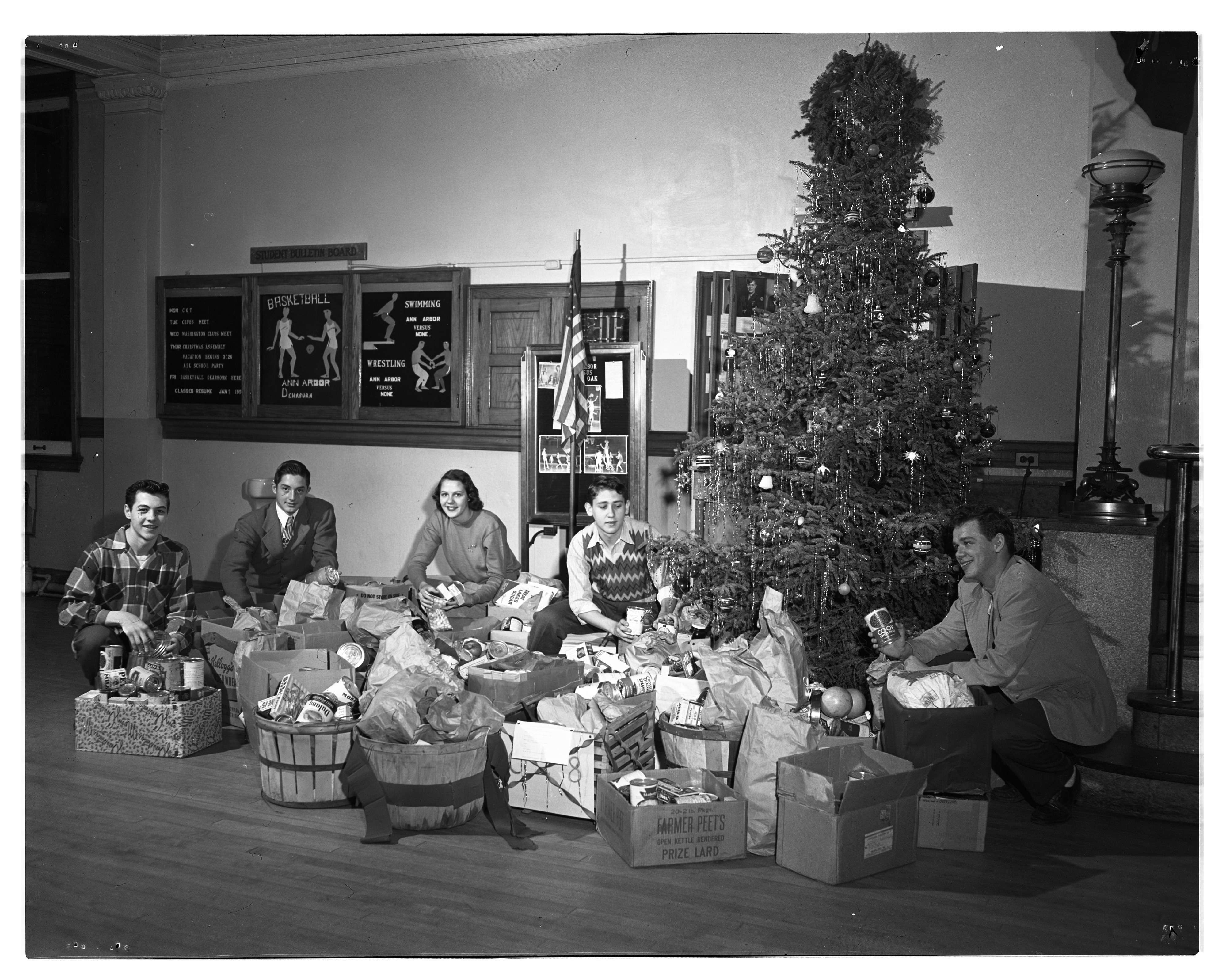 Ann Arbor High School Students Prepare Christmas Baskets For Needy, December 1949 image