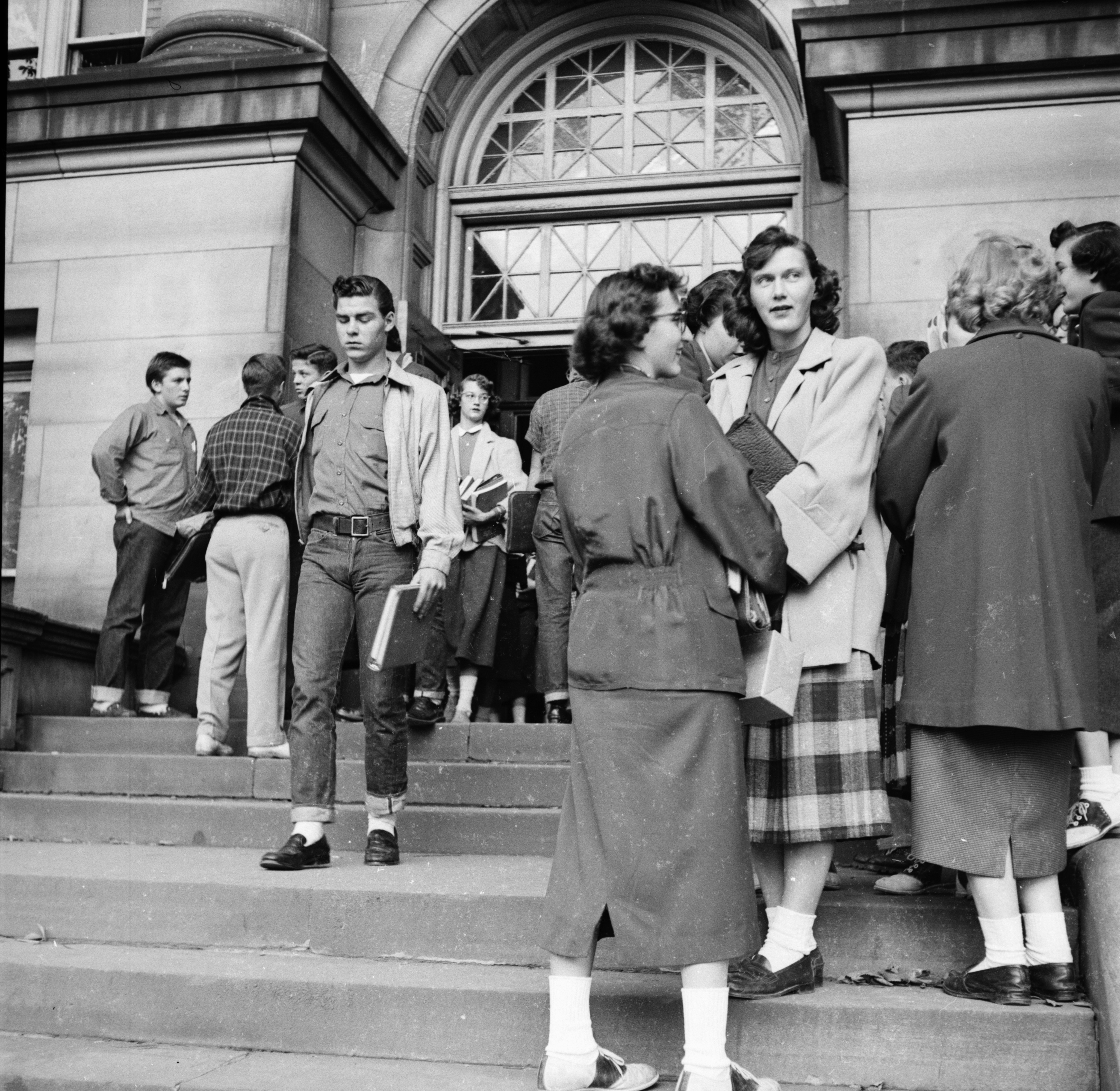 On the Steps of Ann Arbor High School, September 1952 image