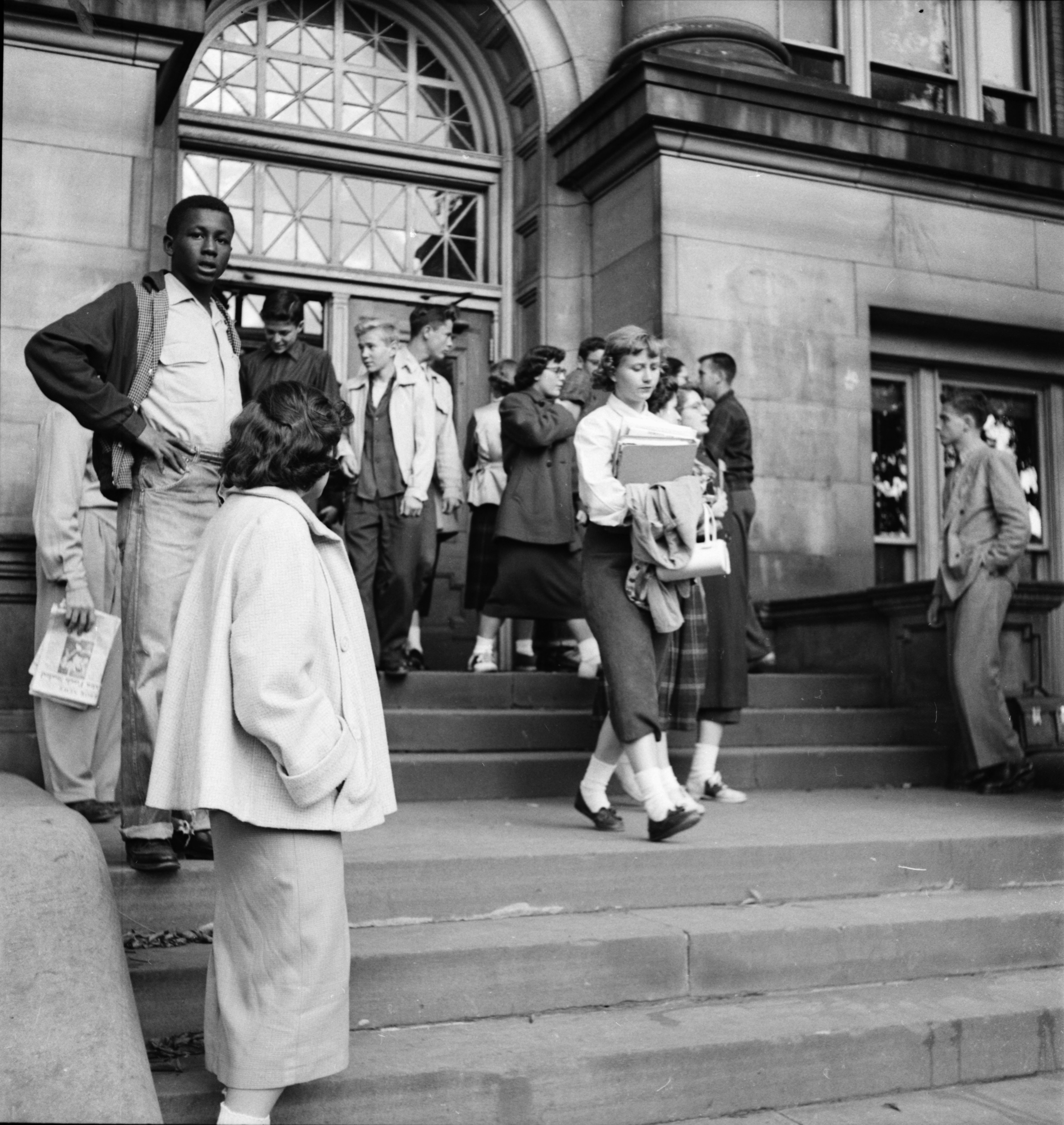 Students on the Steps of Ann Arbor High School, September 1952 image