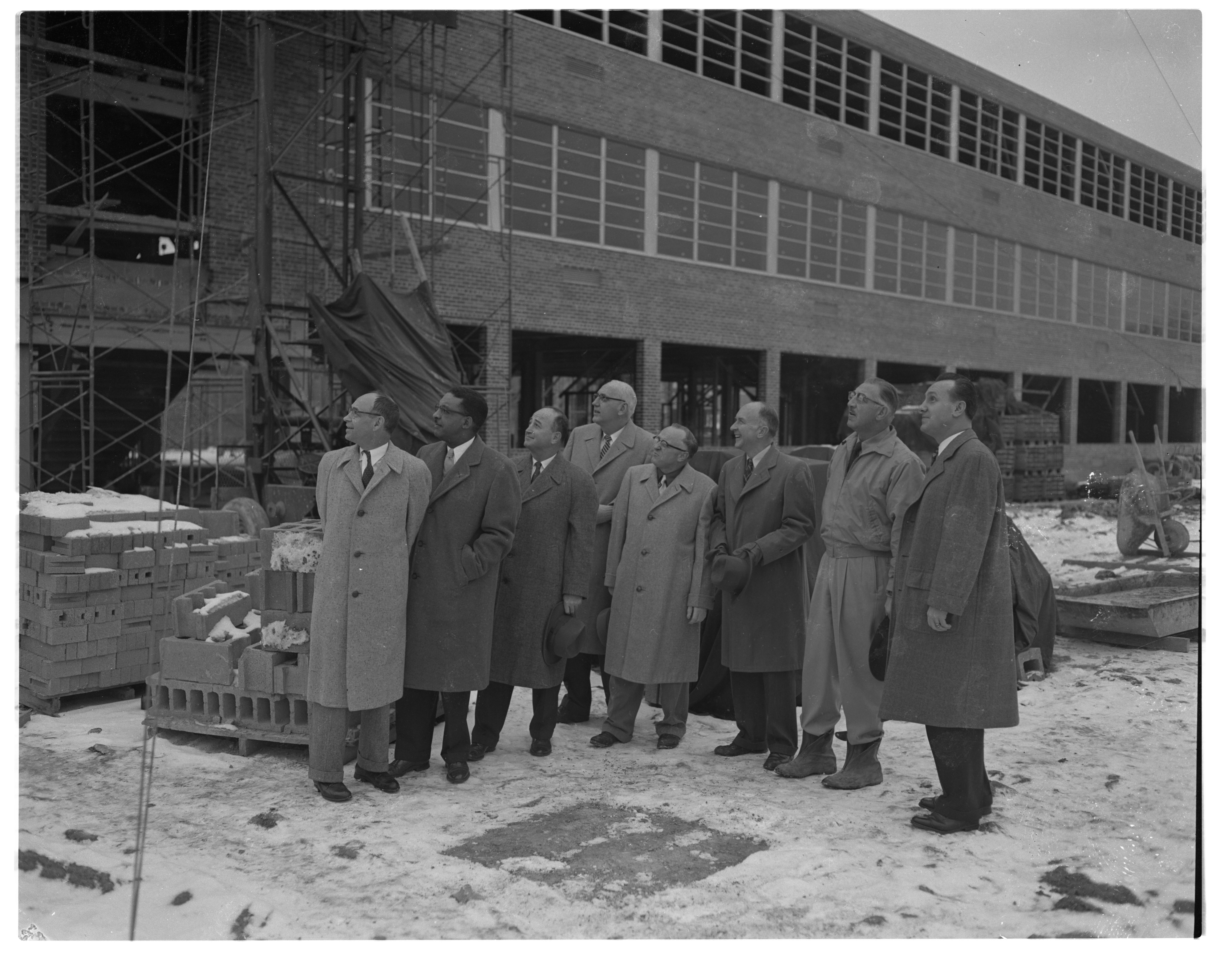 School Officials Prepare For Cornerstone Ceremony at New Ann Arbor High School, December 1954 image