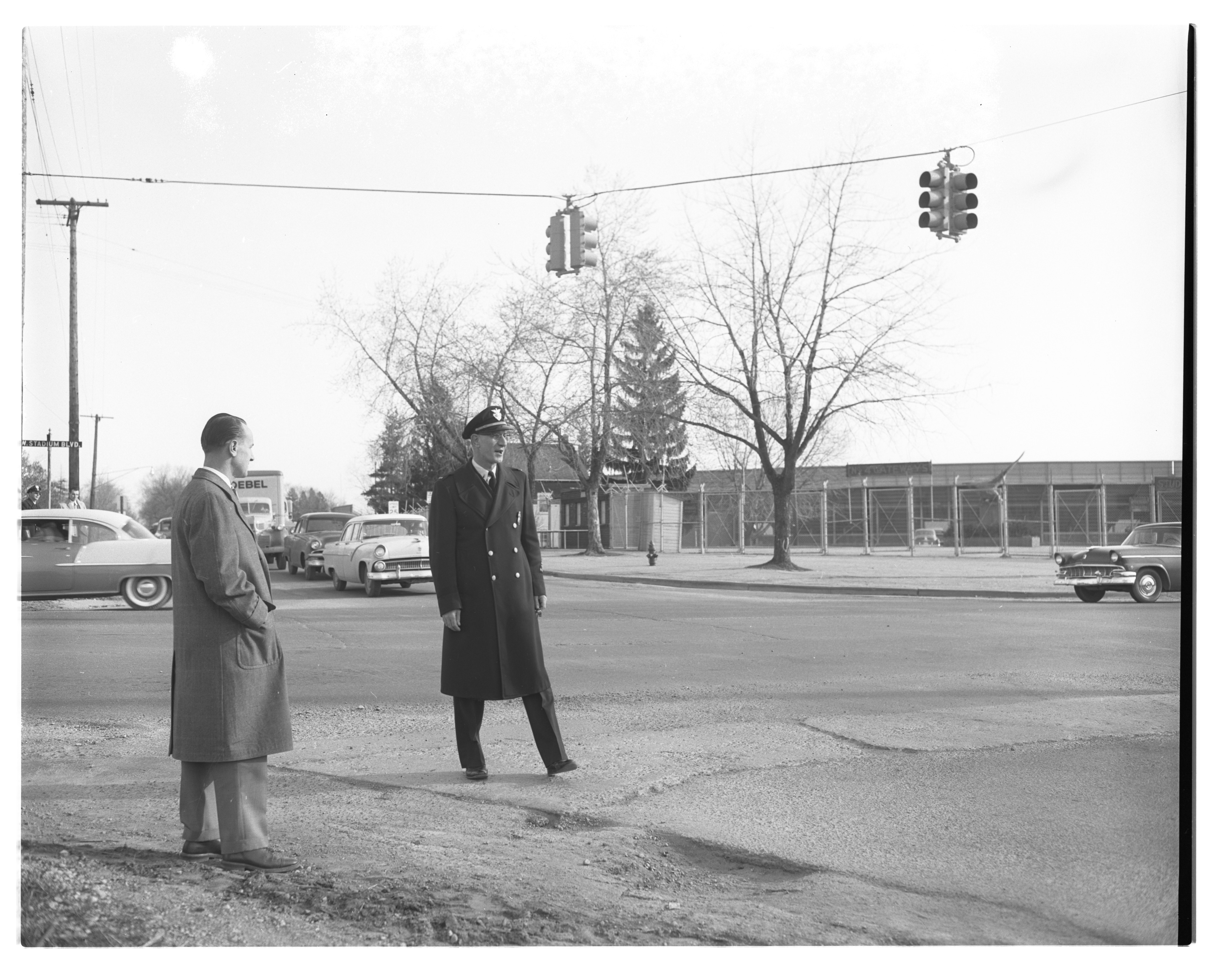 Traffic Control On Opening Day At New Ann Arbor High School, April 1956 image