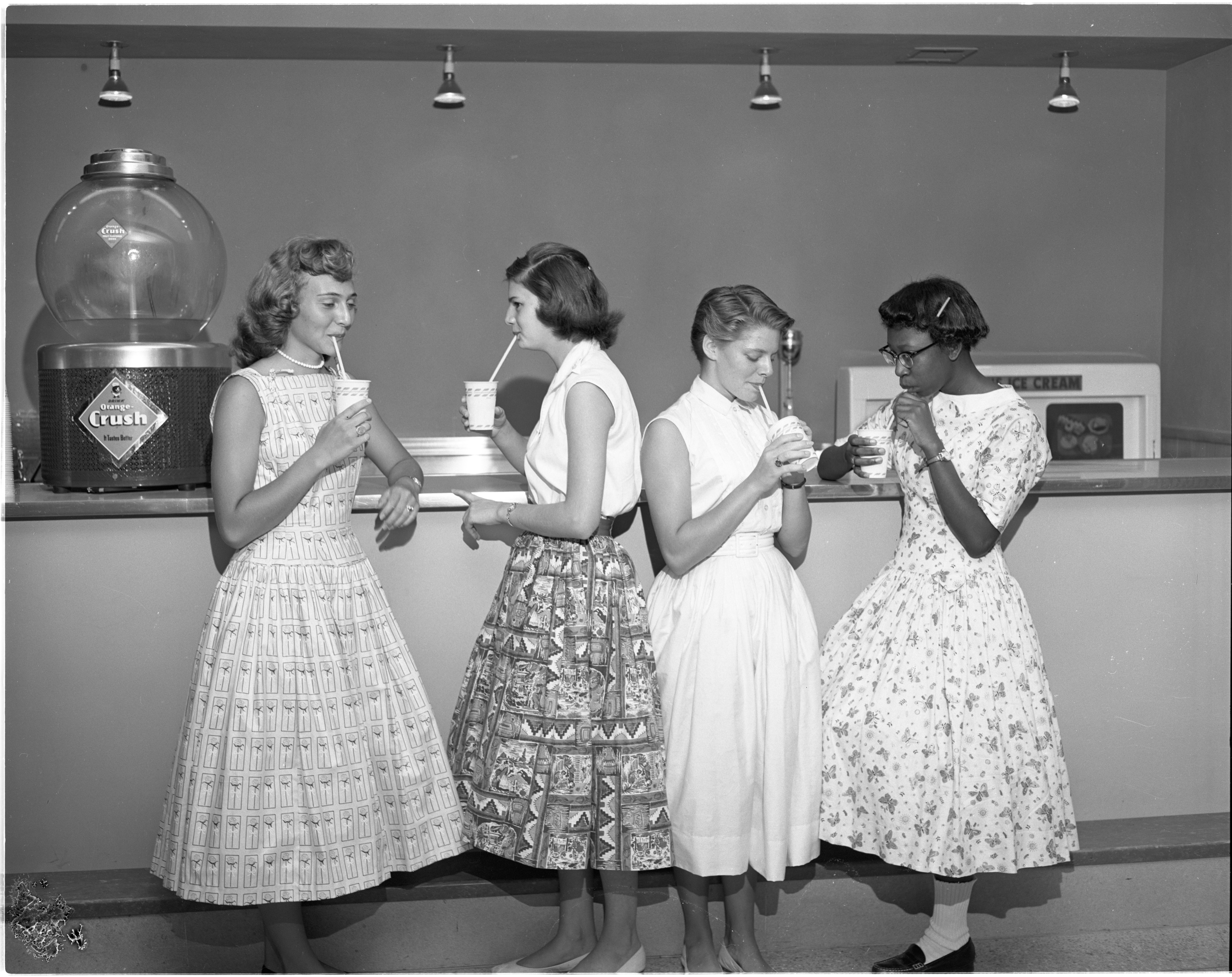 "Ann Arbor High School ""Big Sisters"" & ""Little Sisters"" At The Snack Bar, August 1956 image"