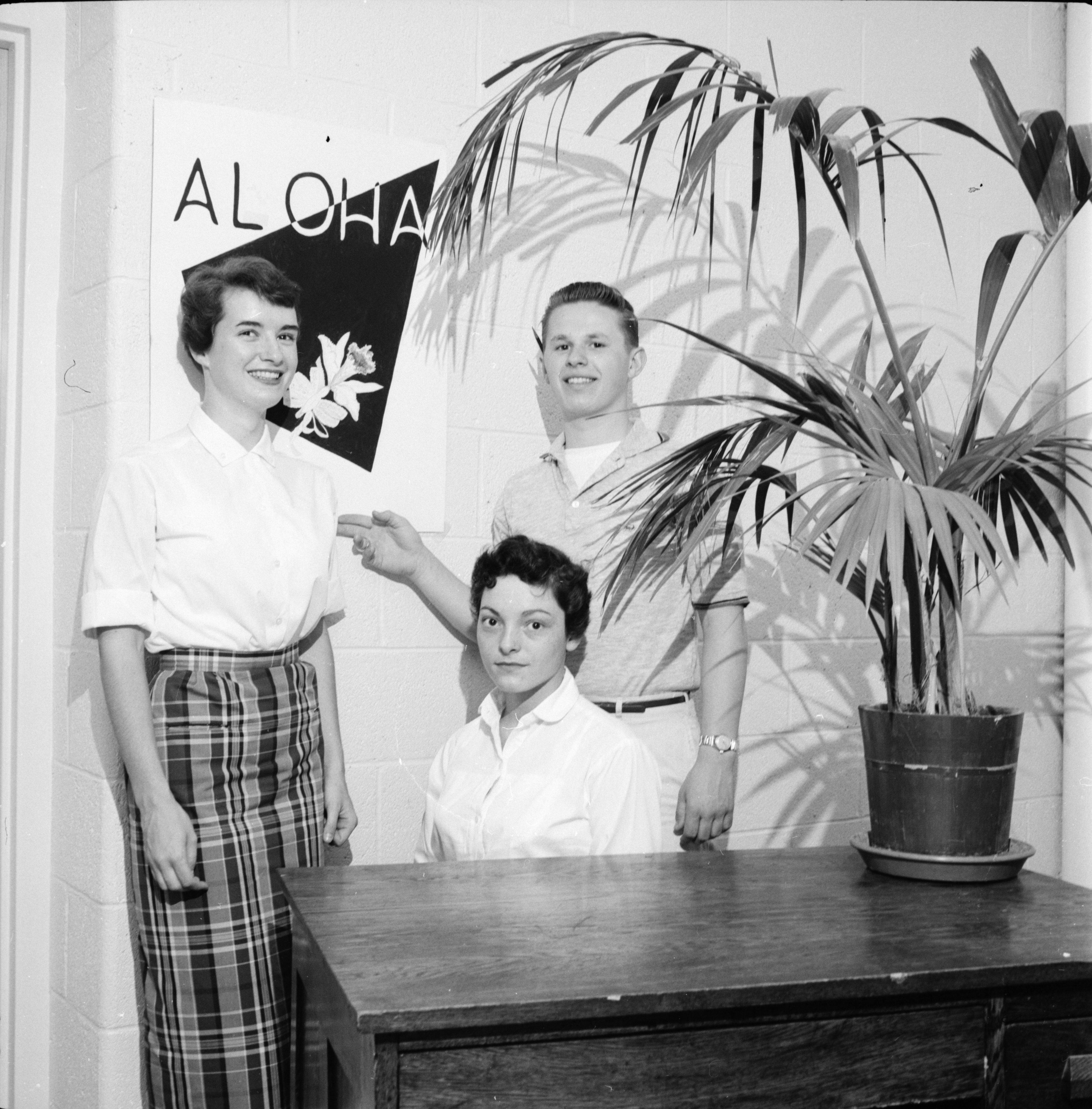 """Aloha Dance"" decorations, Ann Arbor High School, June 1958 image"