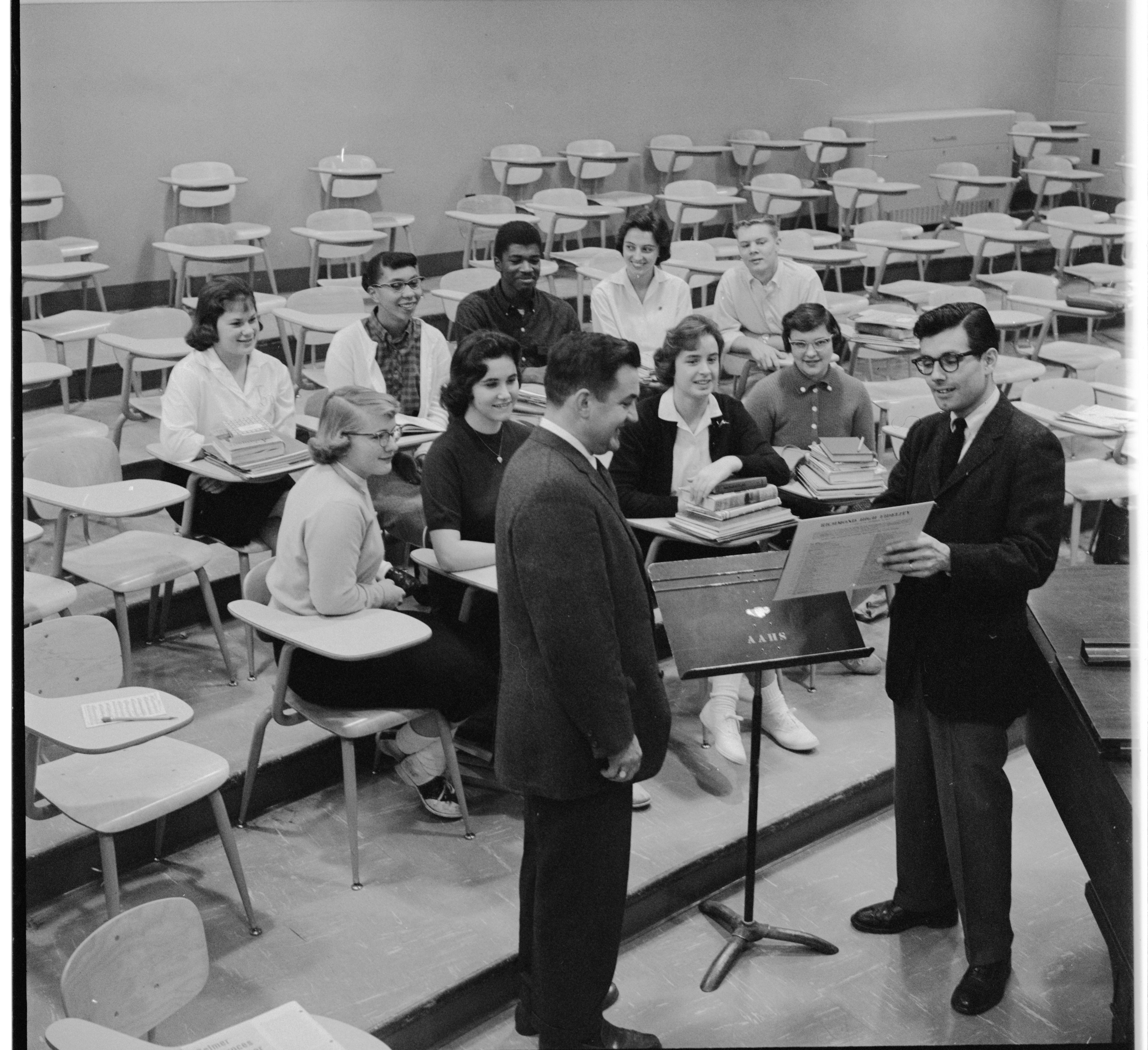 Ann Arbor High School Accepts Record Albums From Kiwanis Club of Ann Arbor, November 1959 image