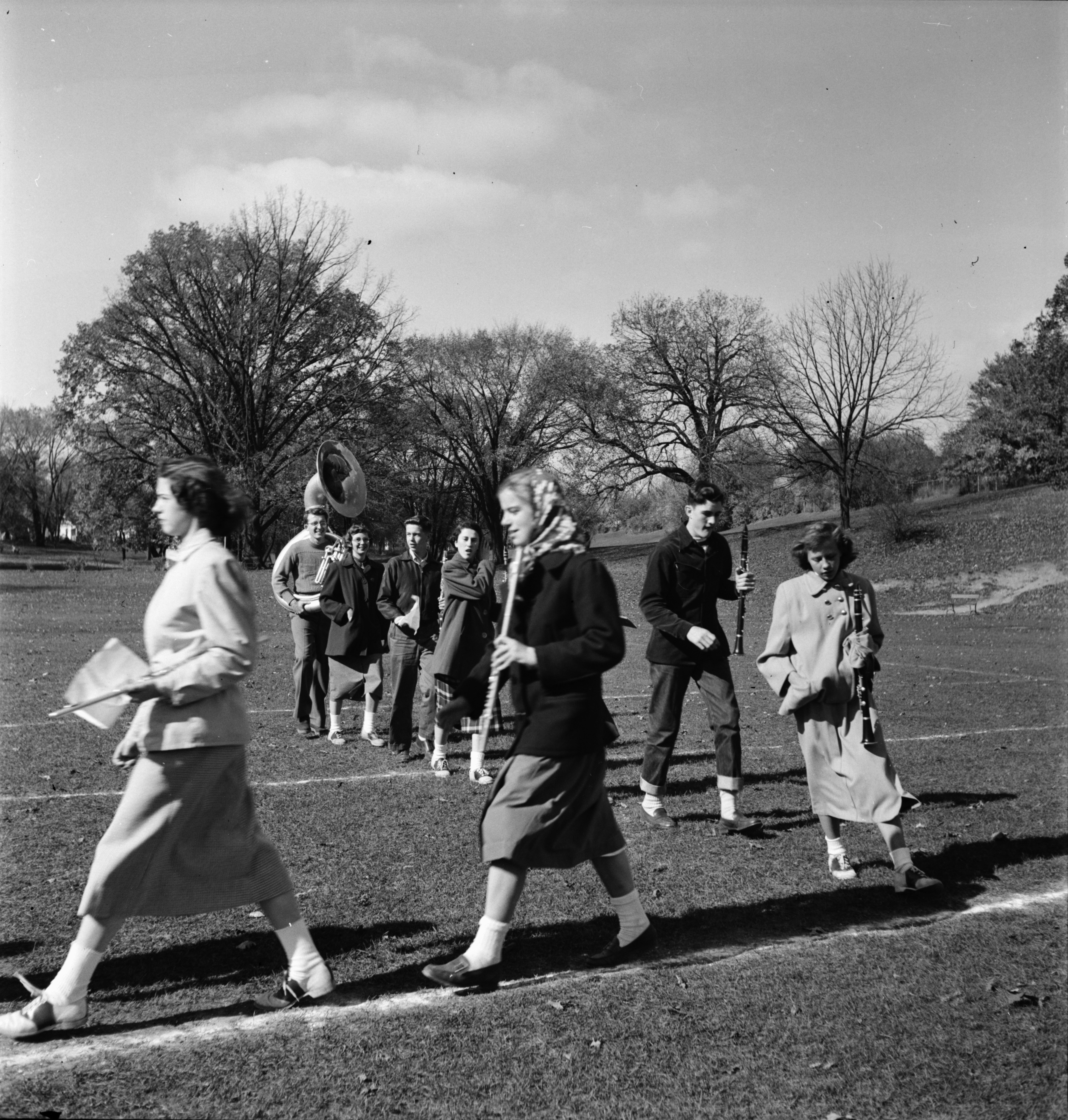 Ann Arbor High School Band Rehearsal at West Park, October 1950 image
