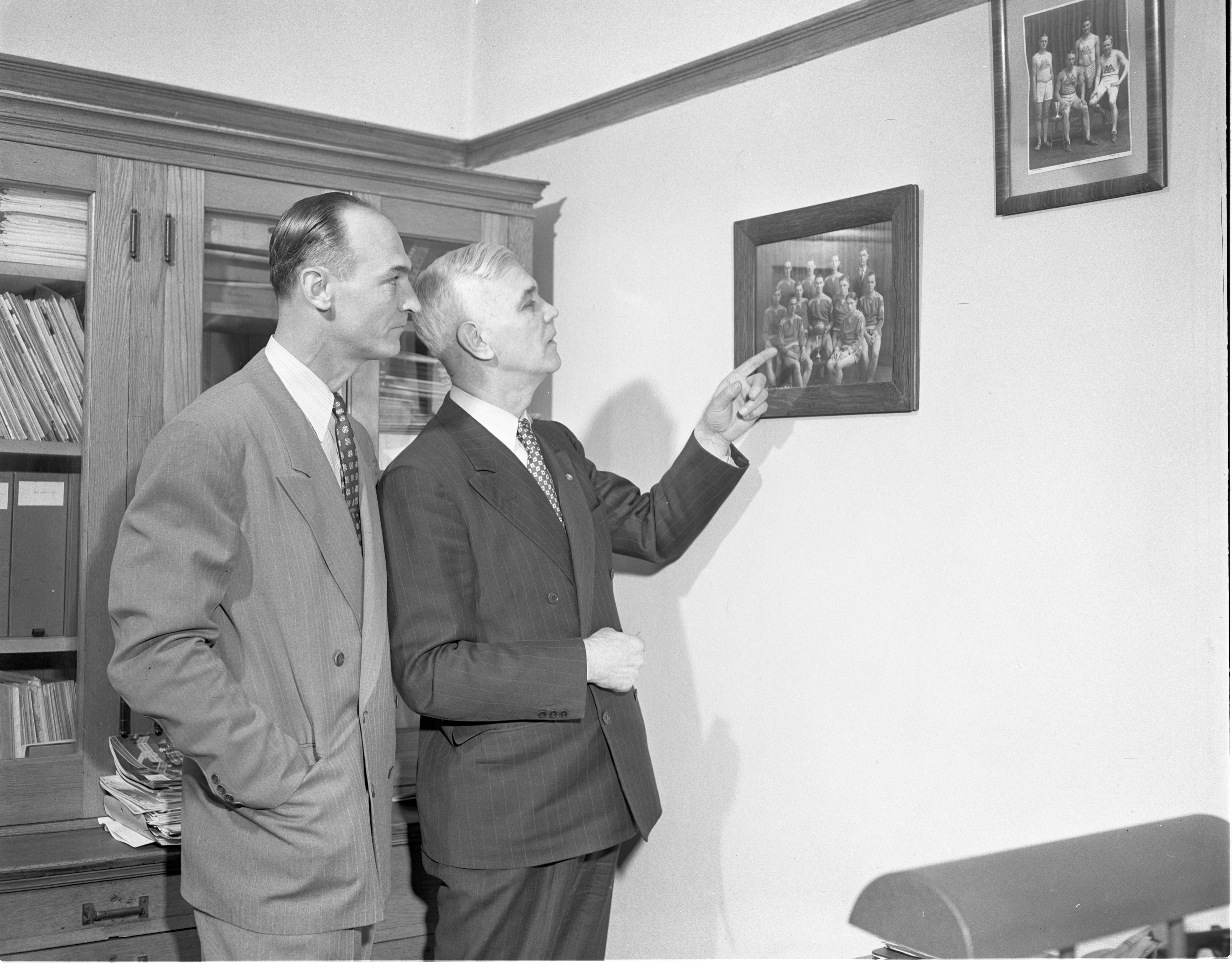 Kip Taylor Visits Lou Hollway At Ann Arbor High School, January 1950 image