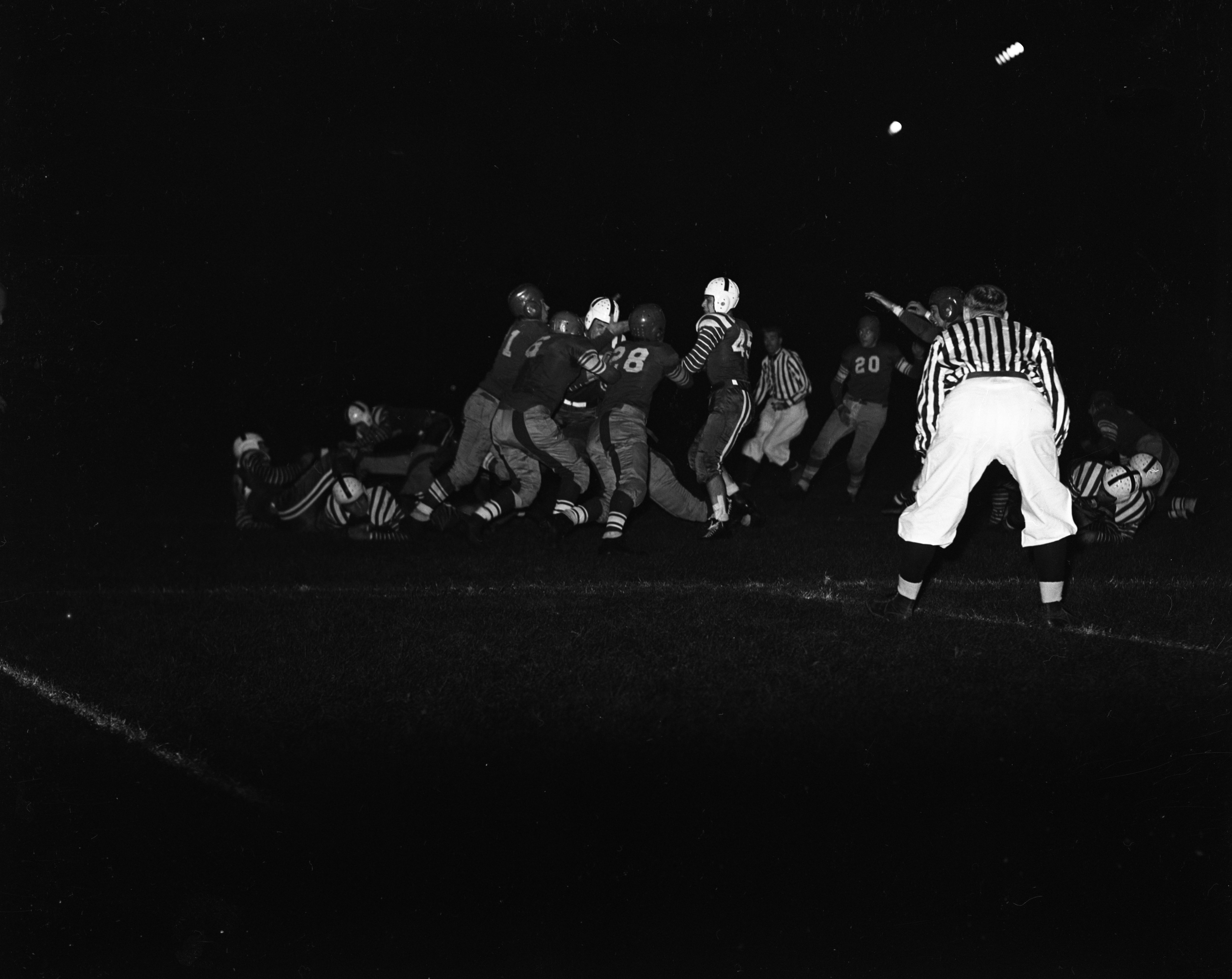 Football: Ann Arbor High School vs. Monroe at Night, September 1939 image