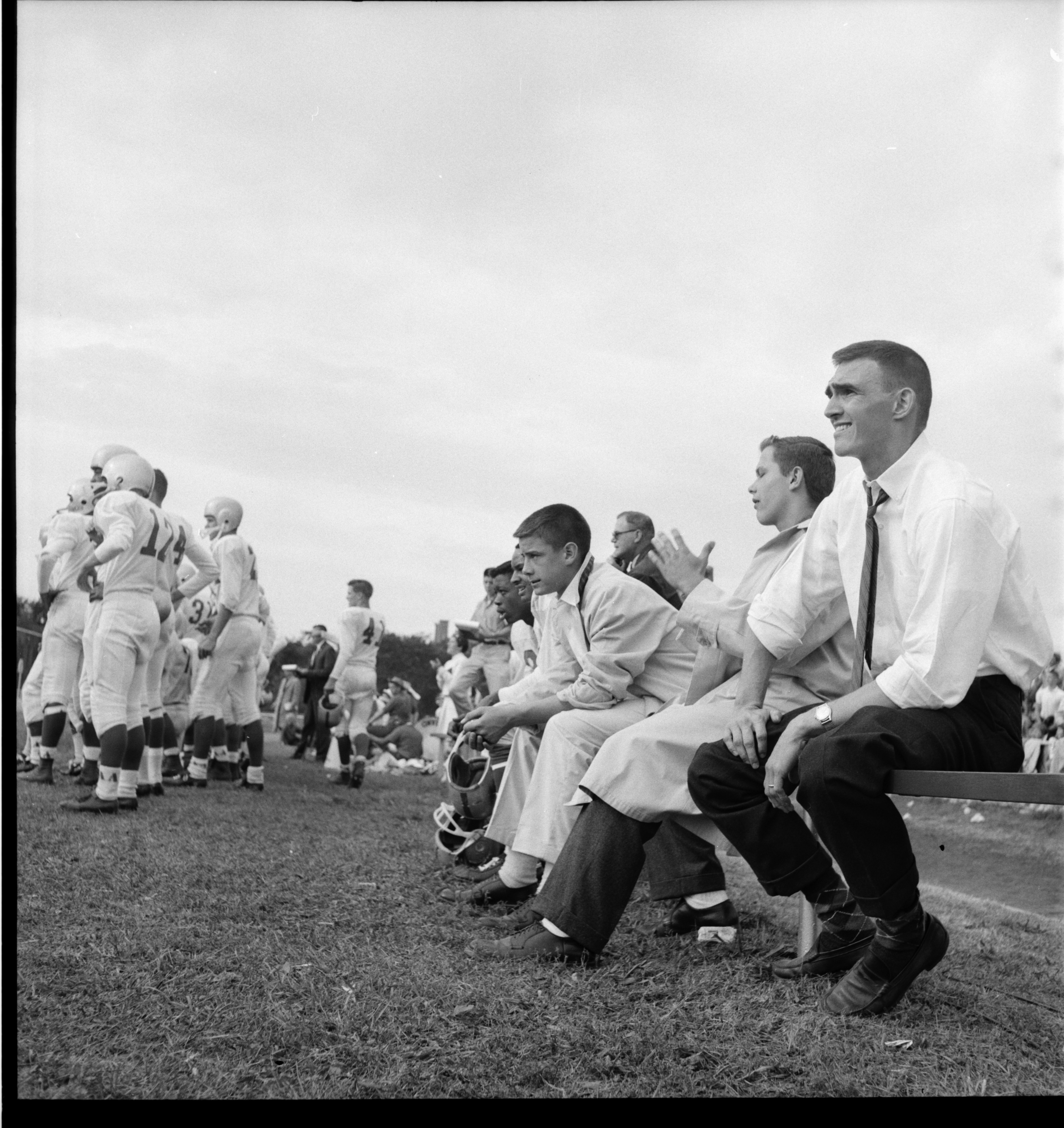 Coach Jay Stielstra and Team During Ann Arbor High vs. Grosse Pointe Football Game, September 1959 image