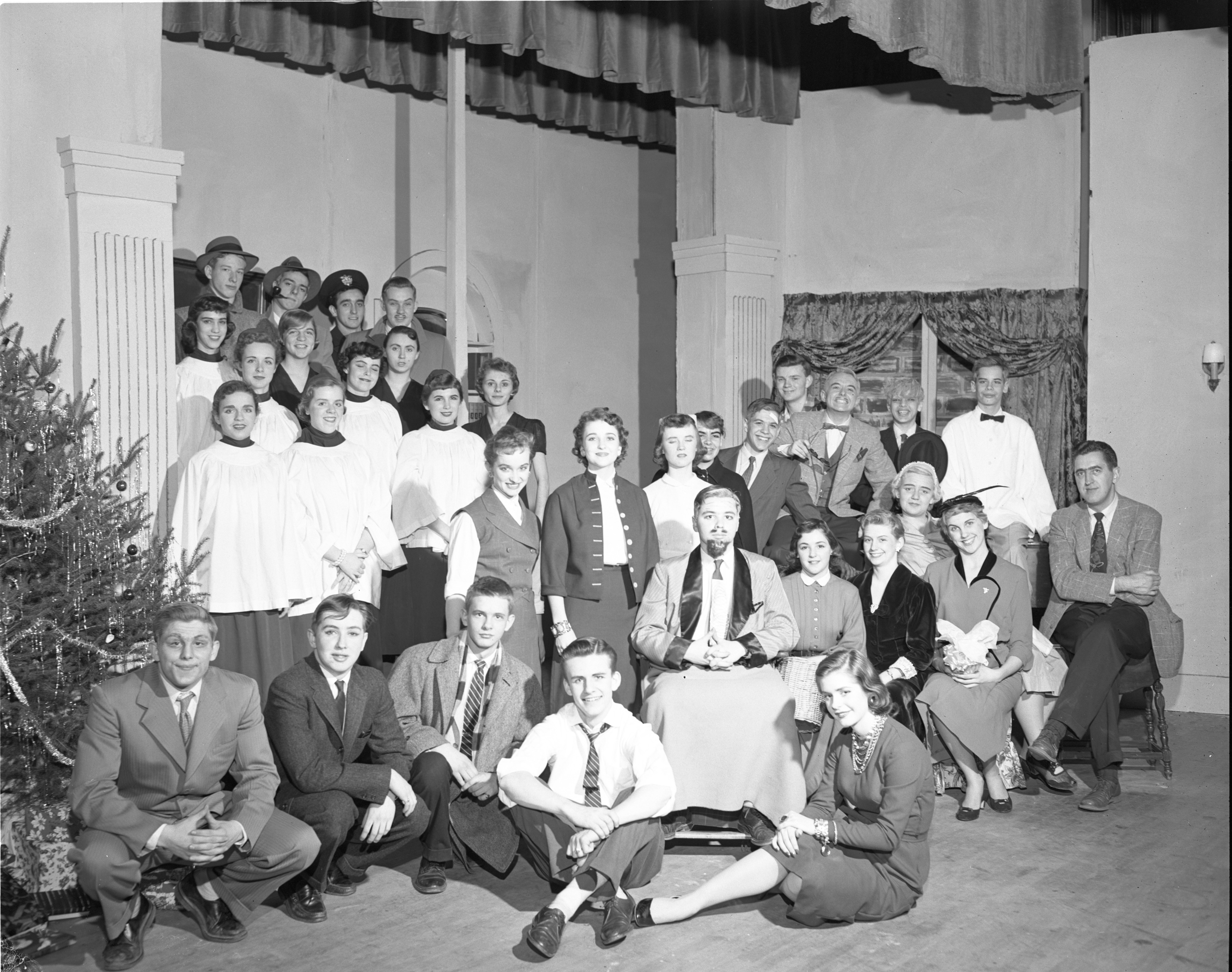 "The Cast Of ""The Man Who Came To Dinner"" - Ann Arbor High School Drama Workshop Play, March 1956 image"