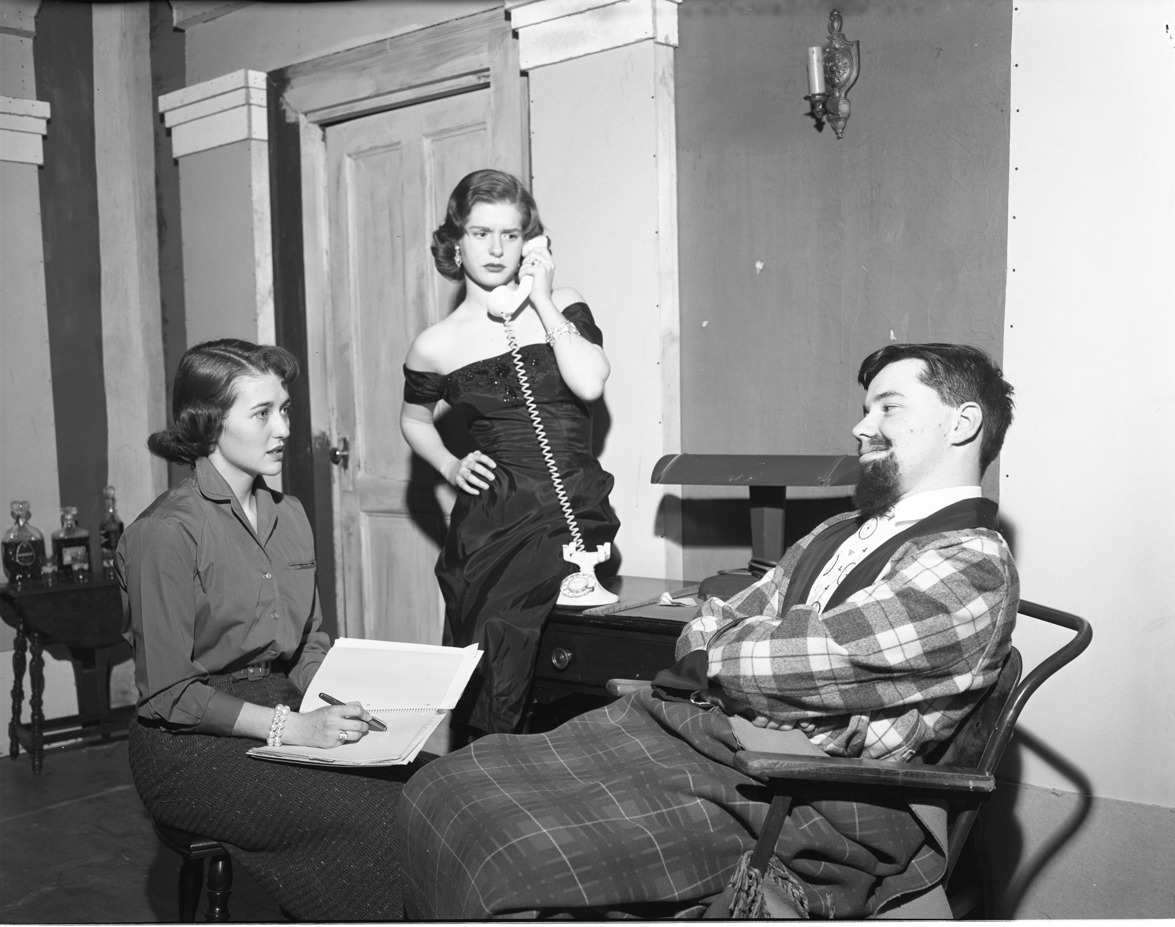 "A Scene From ""The Man Who Came To Dinner"" - Ann Arbor High School Drama Workshop Play, March 1956 image"