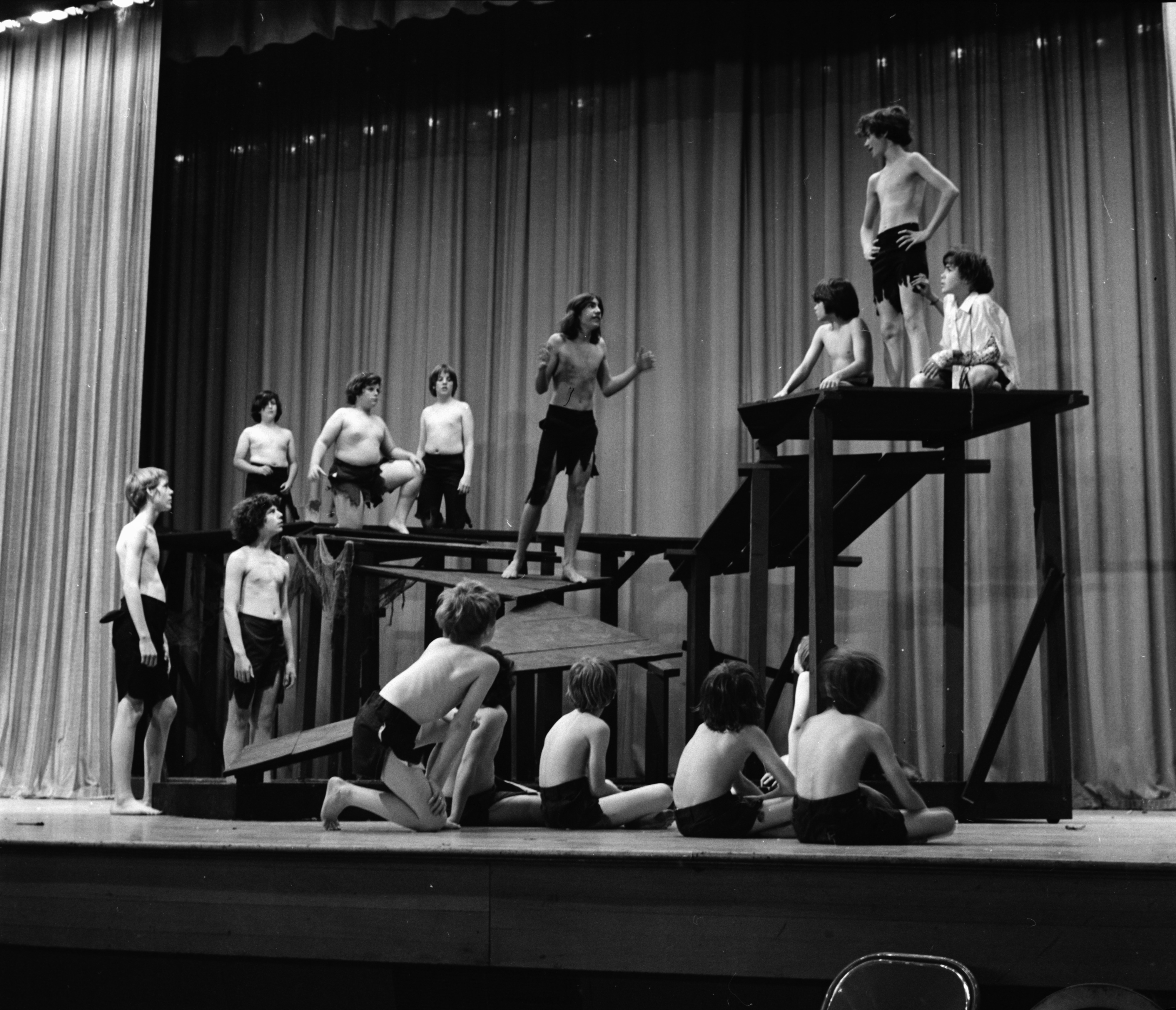 "Ann Arbor Junior Light Opera performs ""Lord of the Flies,"" June 1971 image"