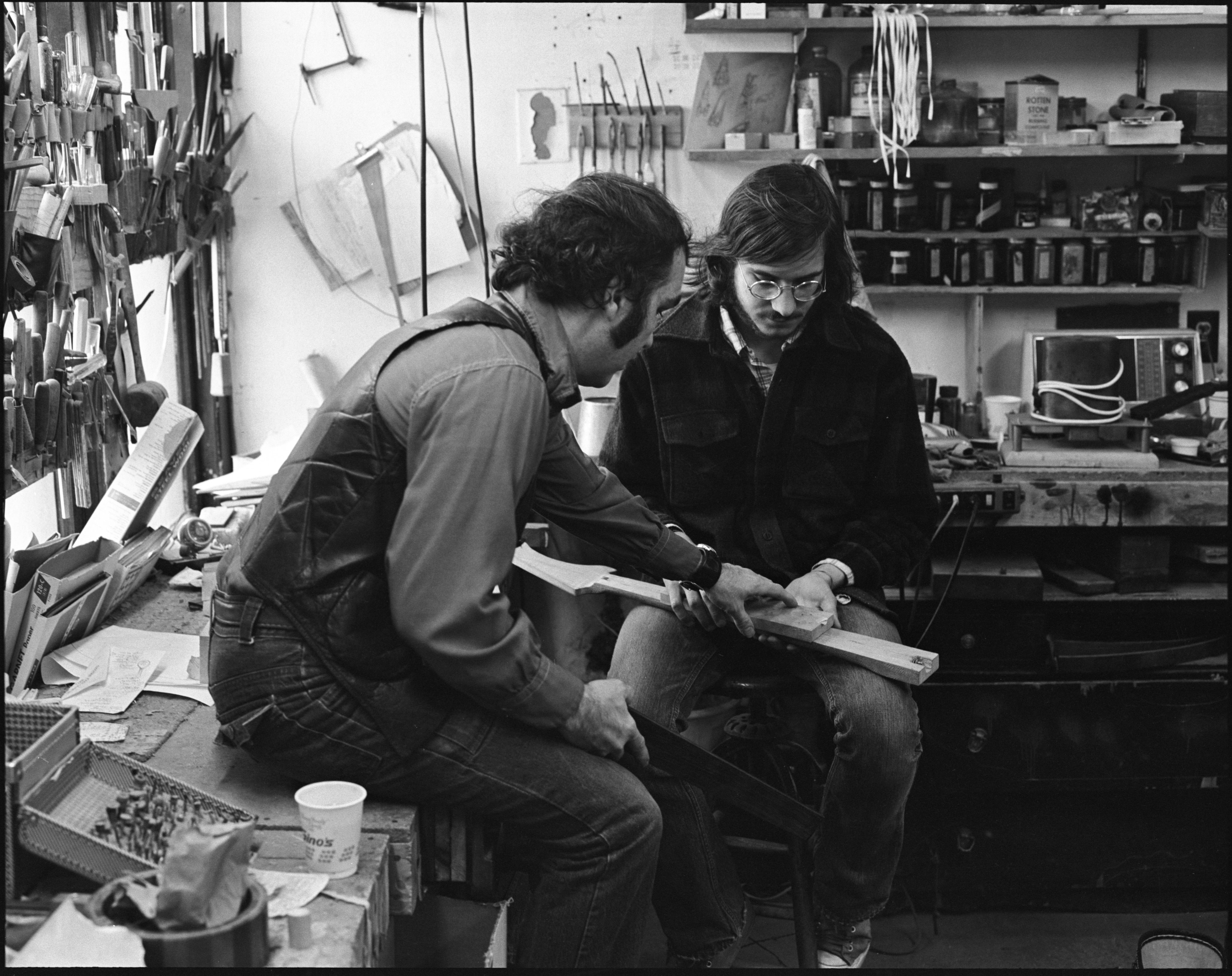 Herb David & Bruce Bartman Work On A Guitar In Community High School's Practical Art Program, April 1973 image