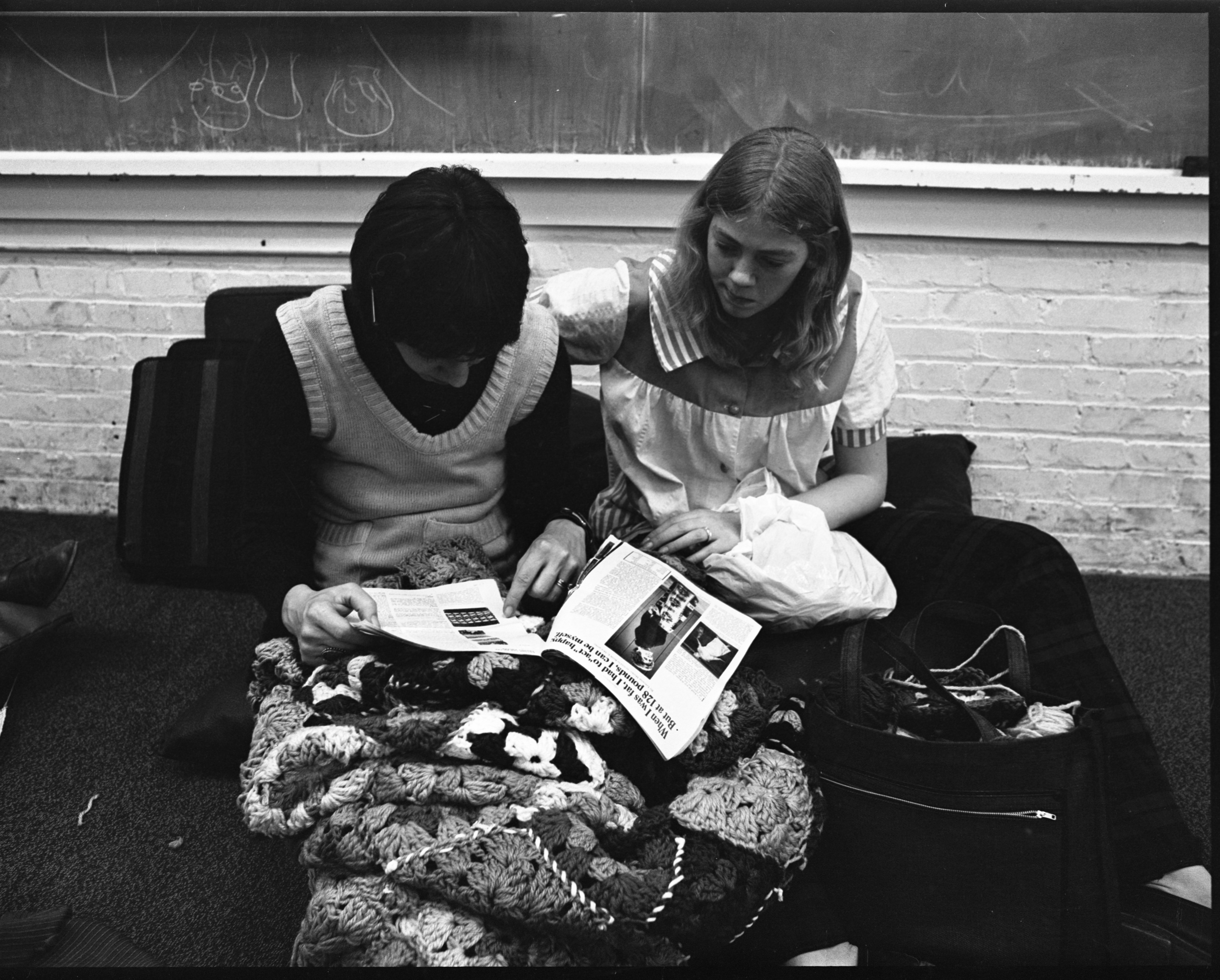 C. J. McNaughton & Margaret Willis Work On An Afghan In Community High School's Practical Art Program, April 1973 image
