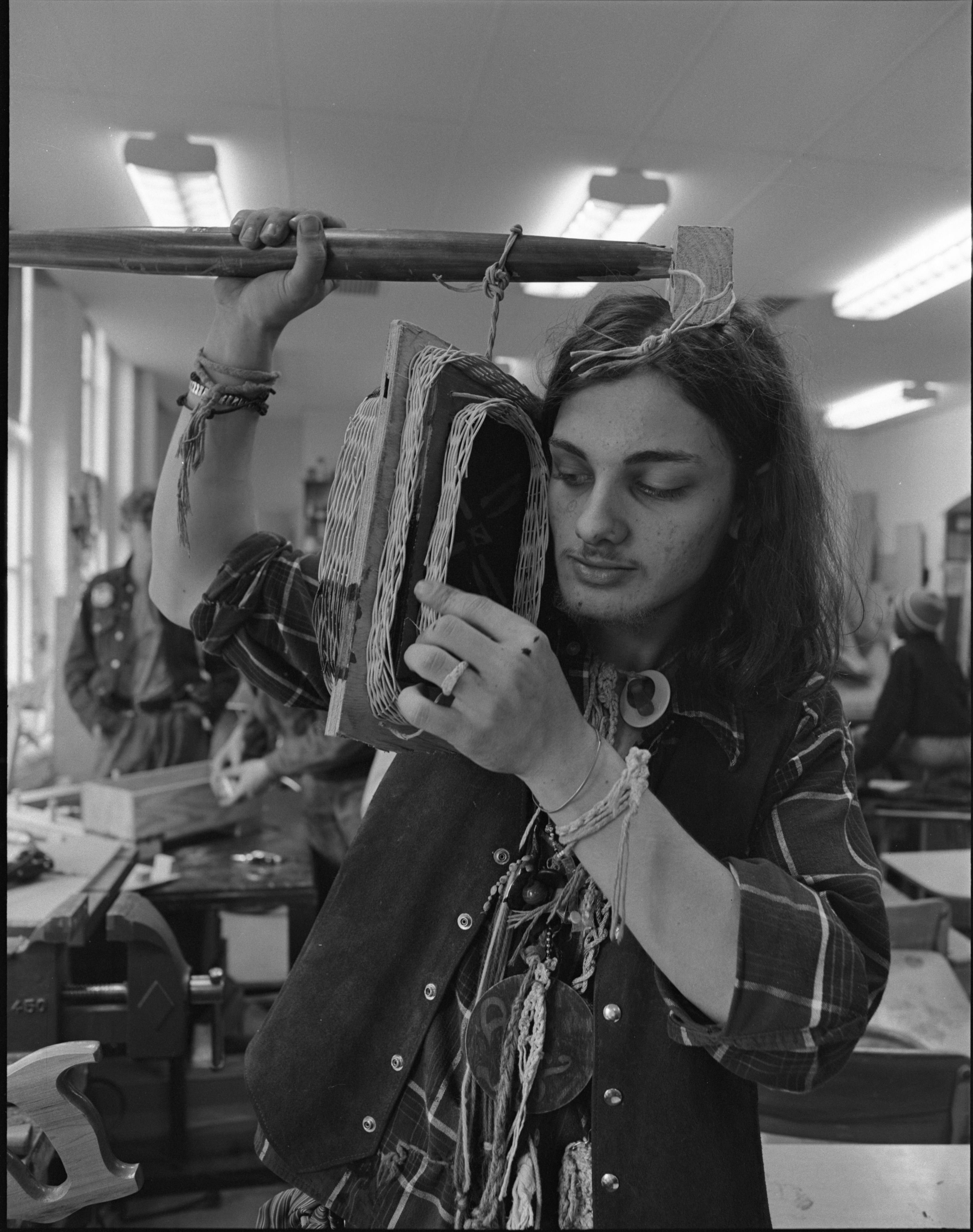 Ted Grenier Crafts A Headdress In Community High School's Practical Art Program, April 1973 image