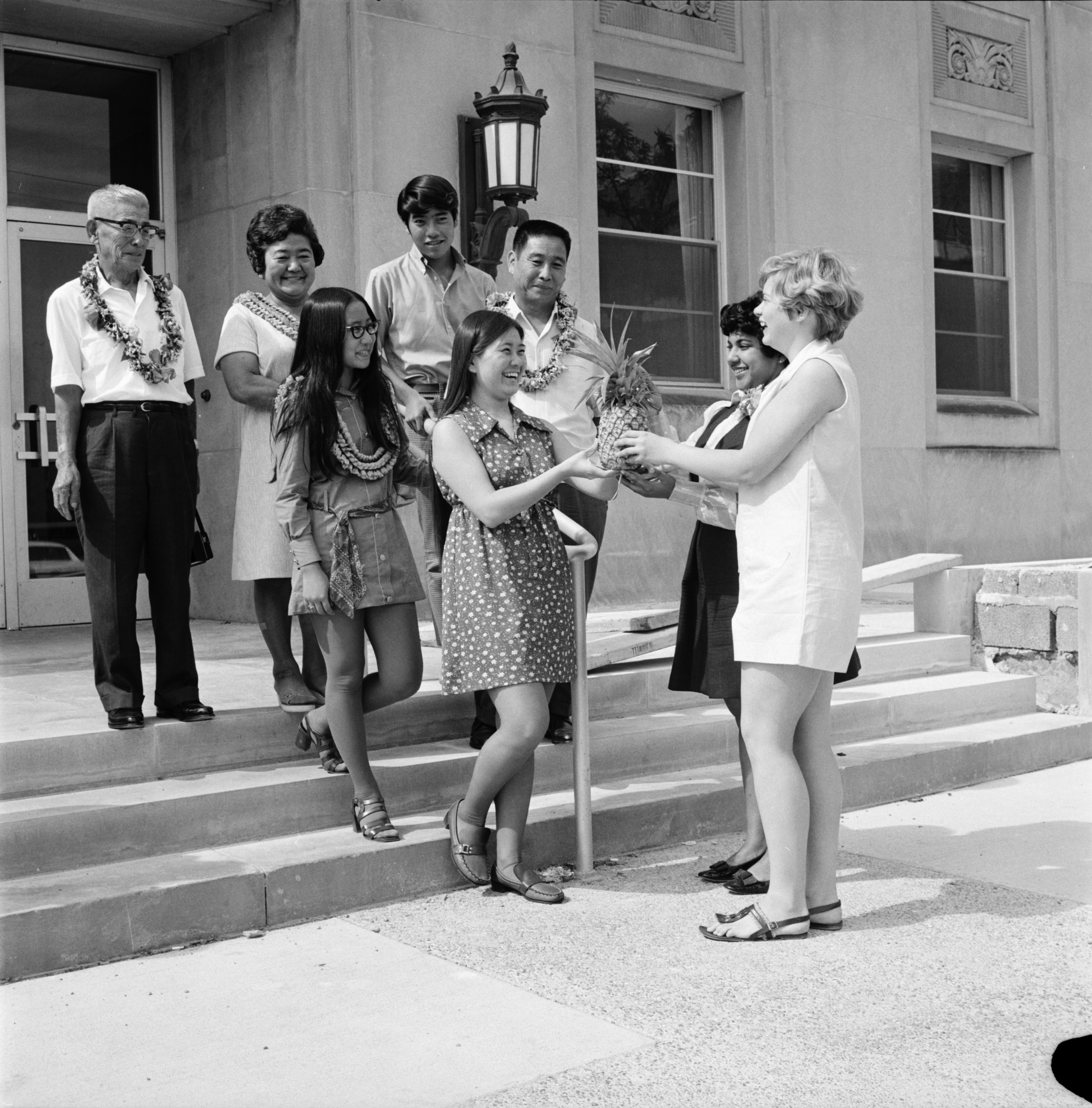 Yabui Family Arrives from Hawaii to Celebrate Phyllis' Graduation, June 1970 image