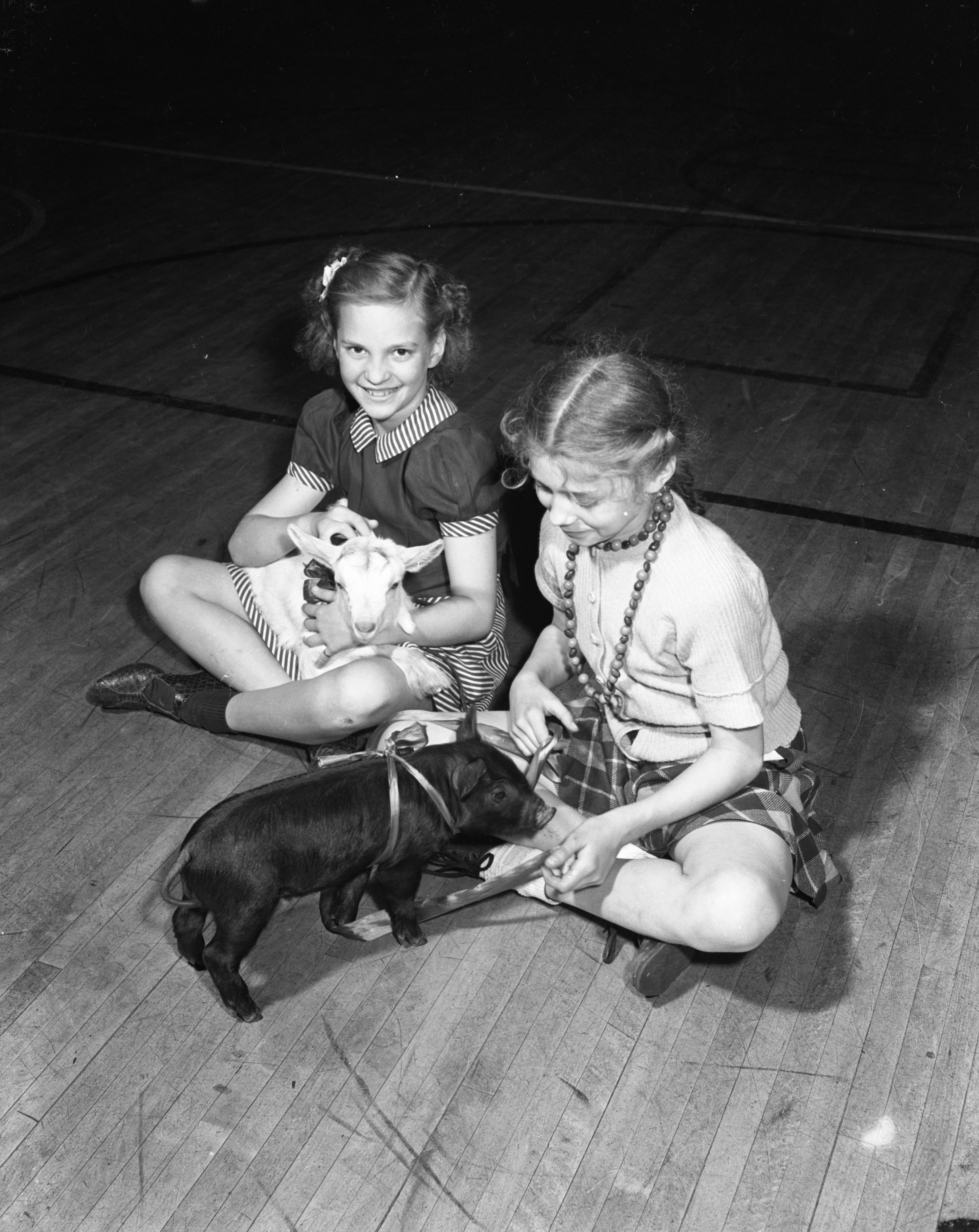 Beverley Stierle, left, and Julia Ross, show off their pets for the Bach school pet show, June 1944 image