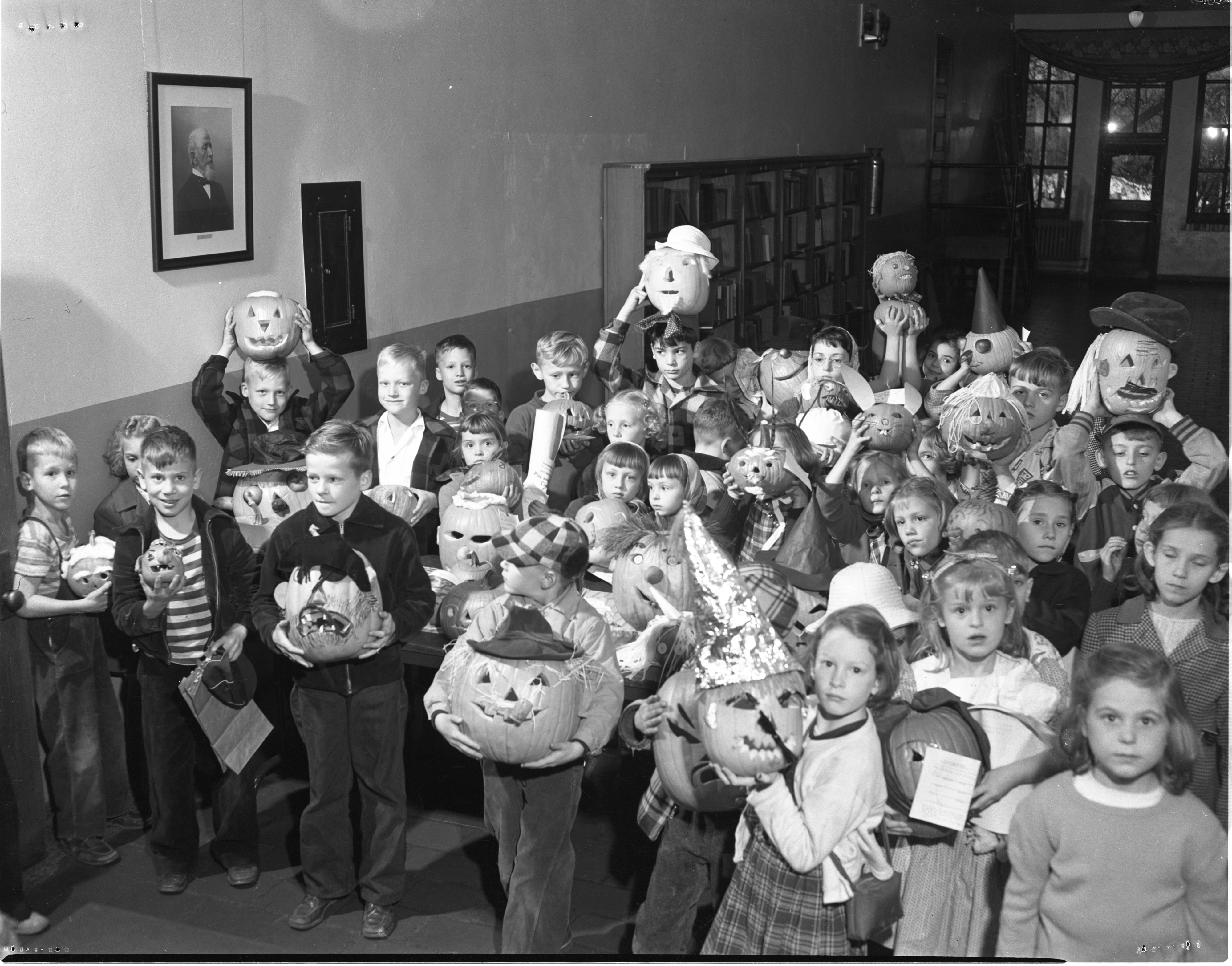 Bach School Students With Jack-O-Lanterns, October 1949 image