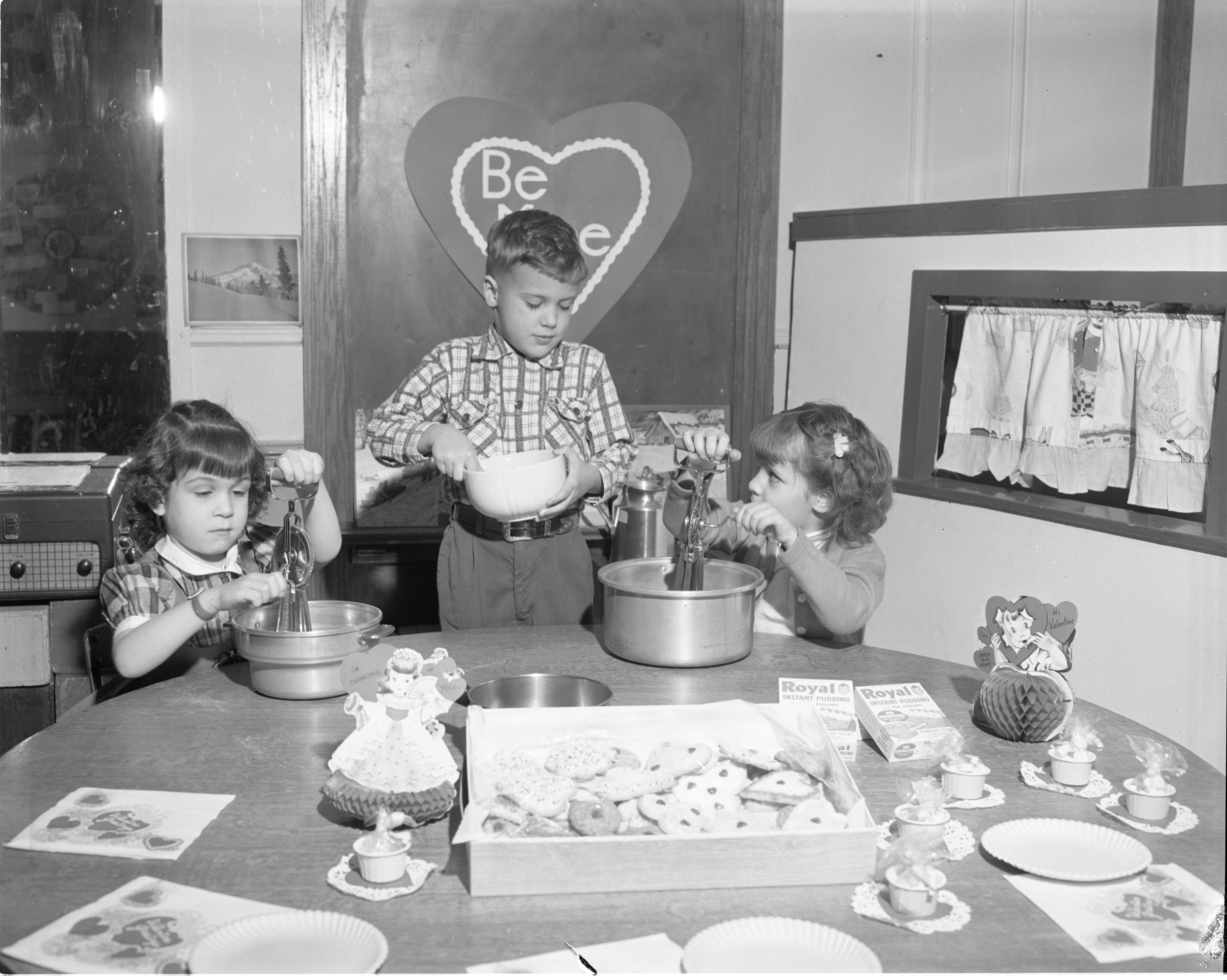 Bach School Kindergartners Make Pudding For Valentines Day - February 14, 1956 image