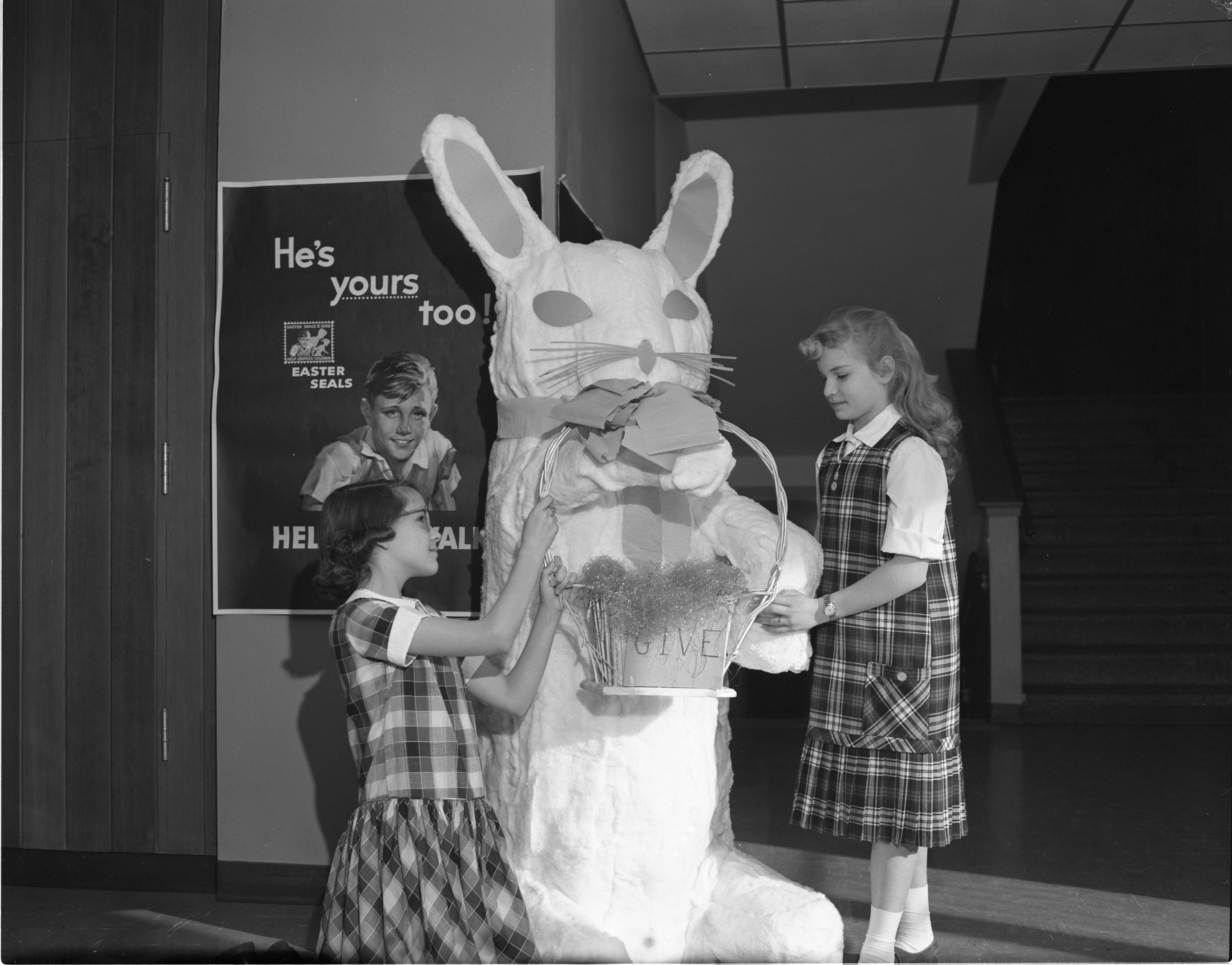 Easter Bunny At Bach School, March 1959 image