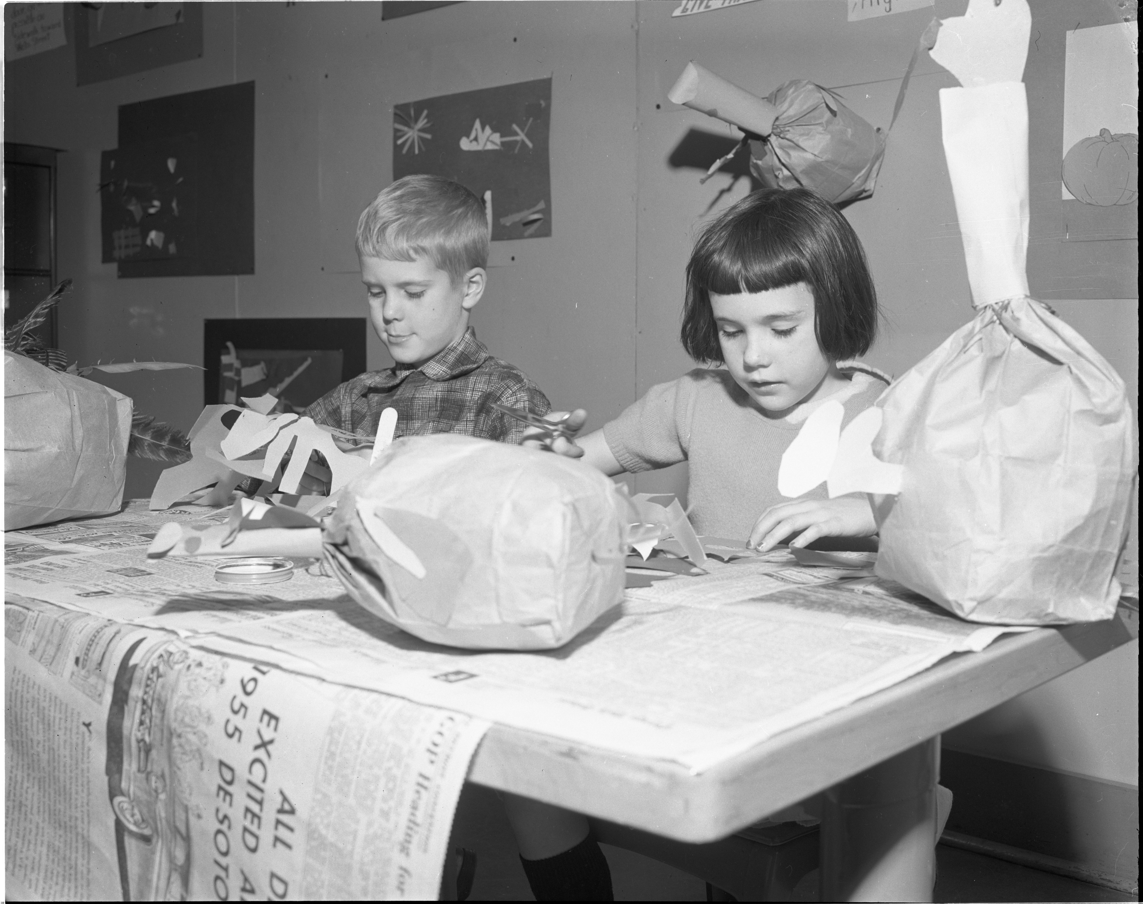 Burns Park School Students Make Paper Turkeys For Thanksgiving, November 1954 image