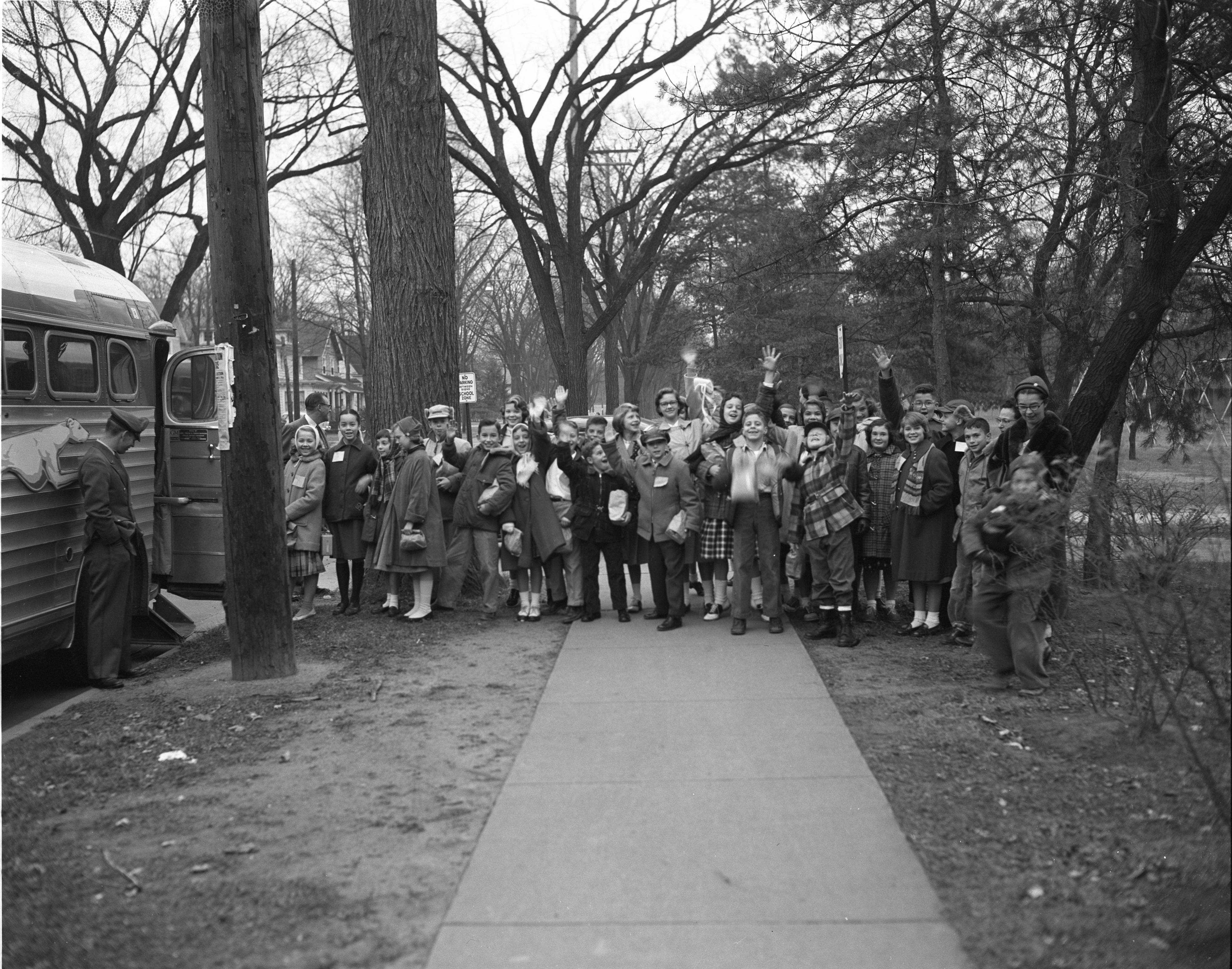 Burns Park Sixth Graders Leave For Canada, November 1956 image
