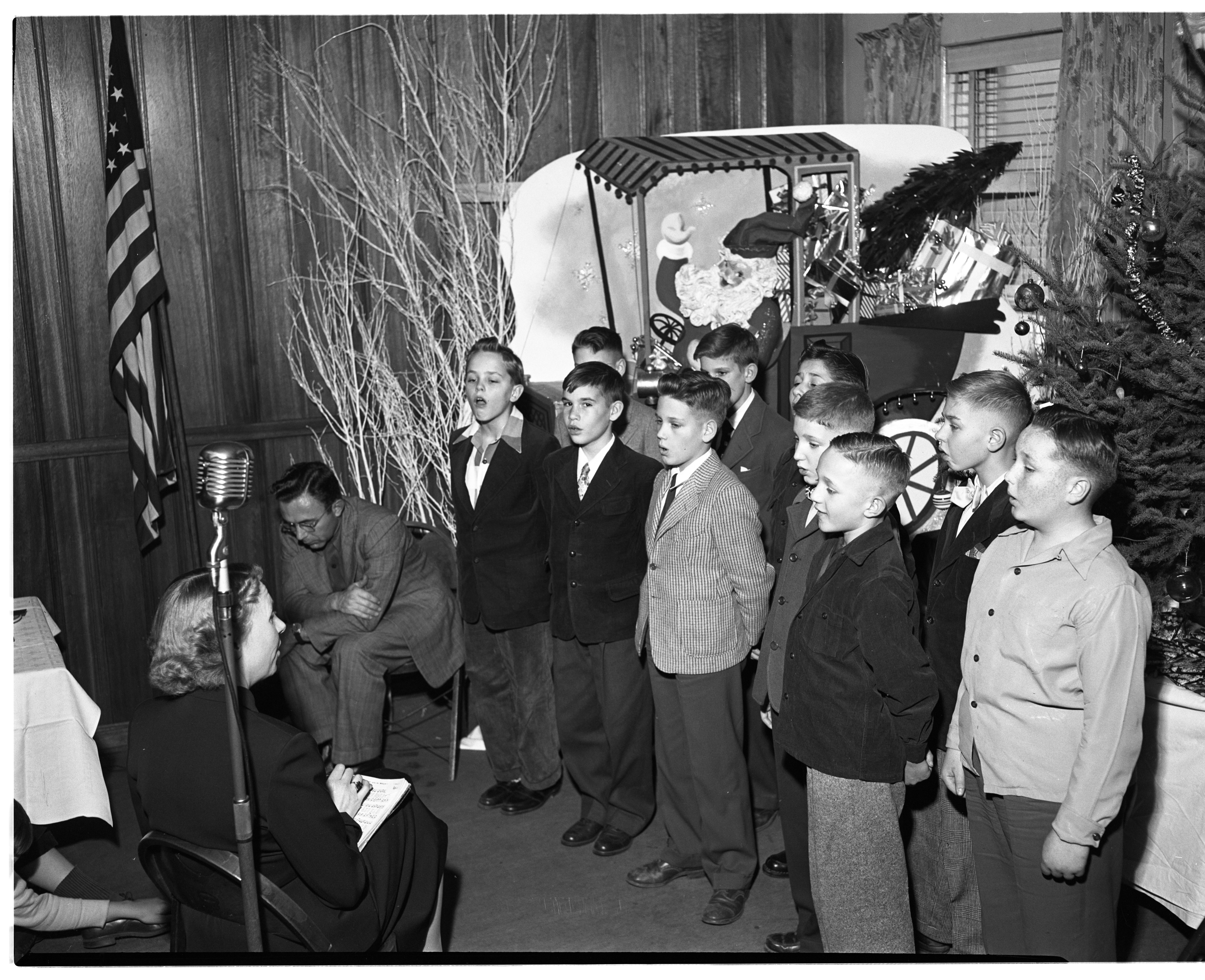 Eberwhite School A Cappella Choir Sings at Optimist Club Christmas Party, December 1951 image