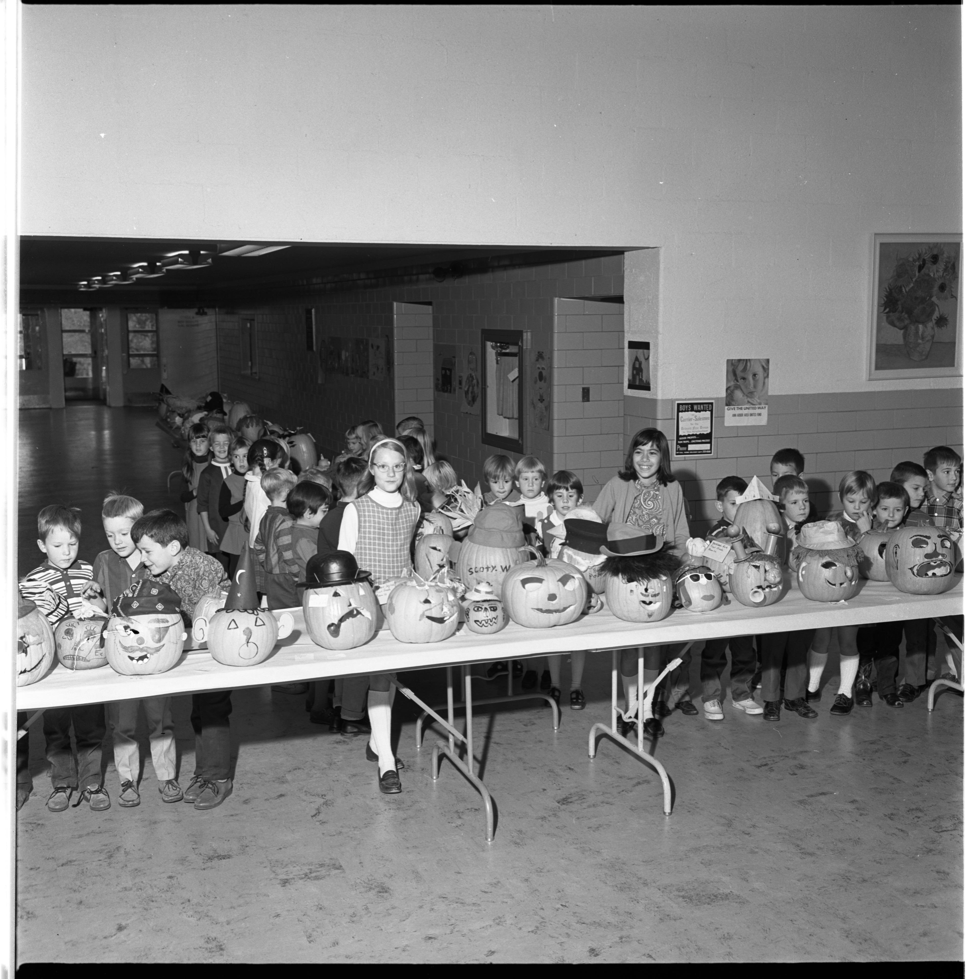 Jack-O-Lantern Display, Eberwhite School, October 1967 image