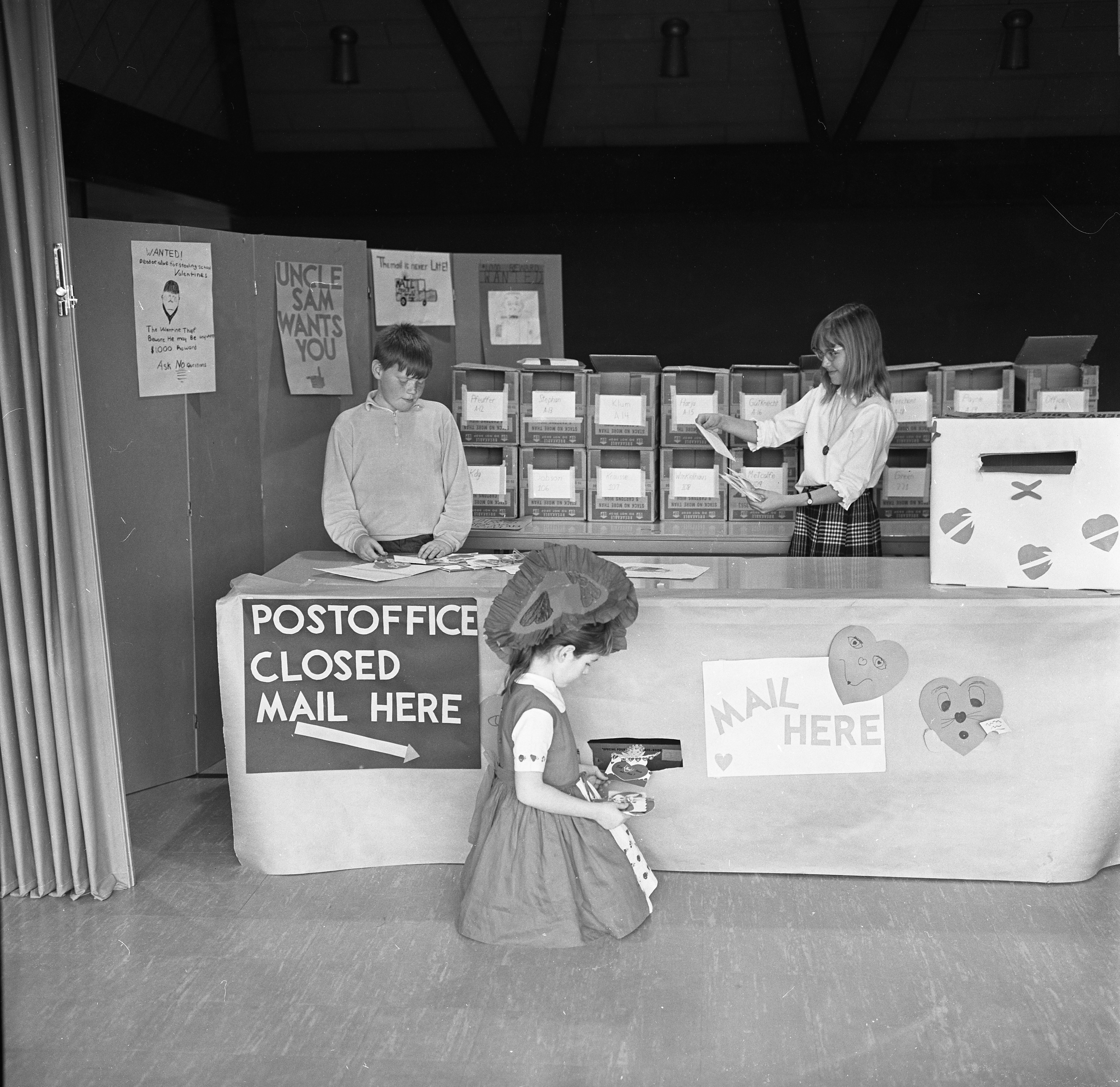Students At Allen Elementary School With Their Valentine's Day Post Office, February 1966 image