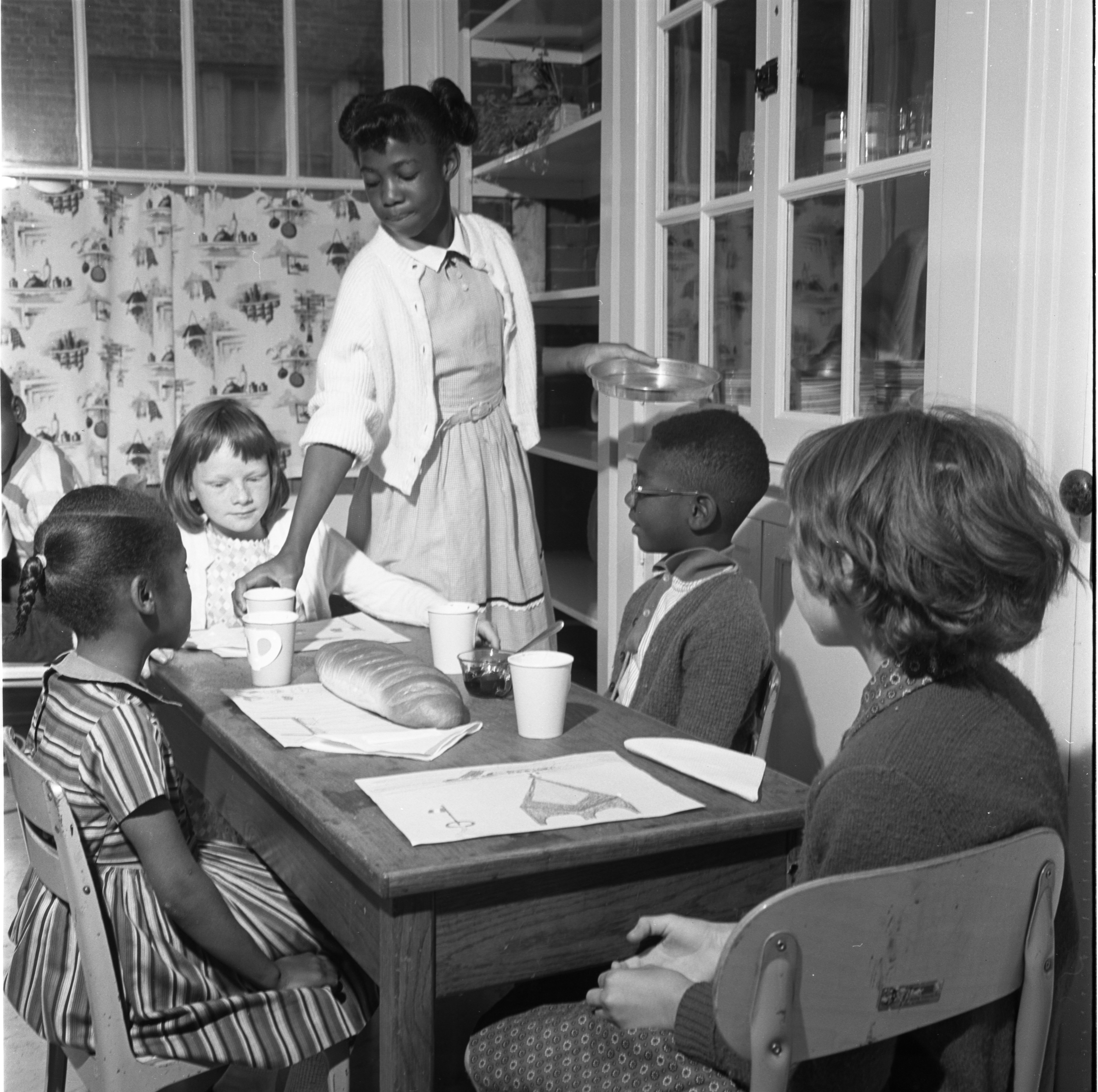 Jones School Fourth Graders Serve First Graders Traditional French Breakfast, June 5, 1964 image