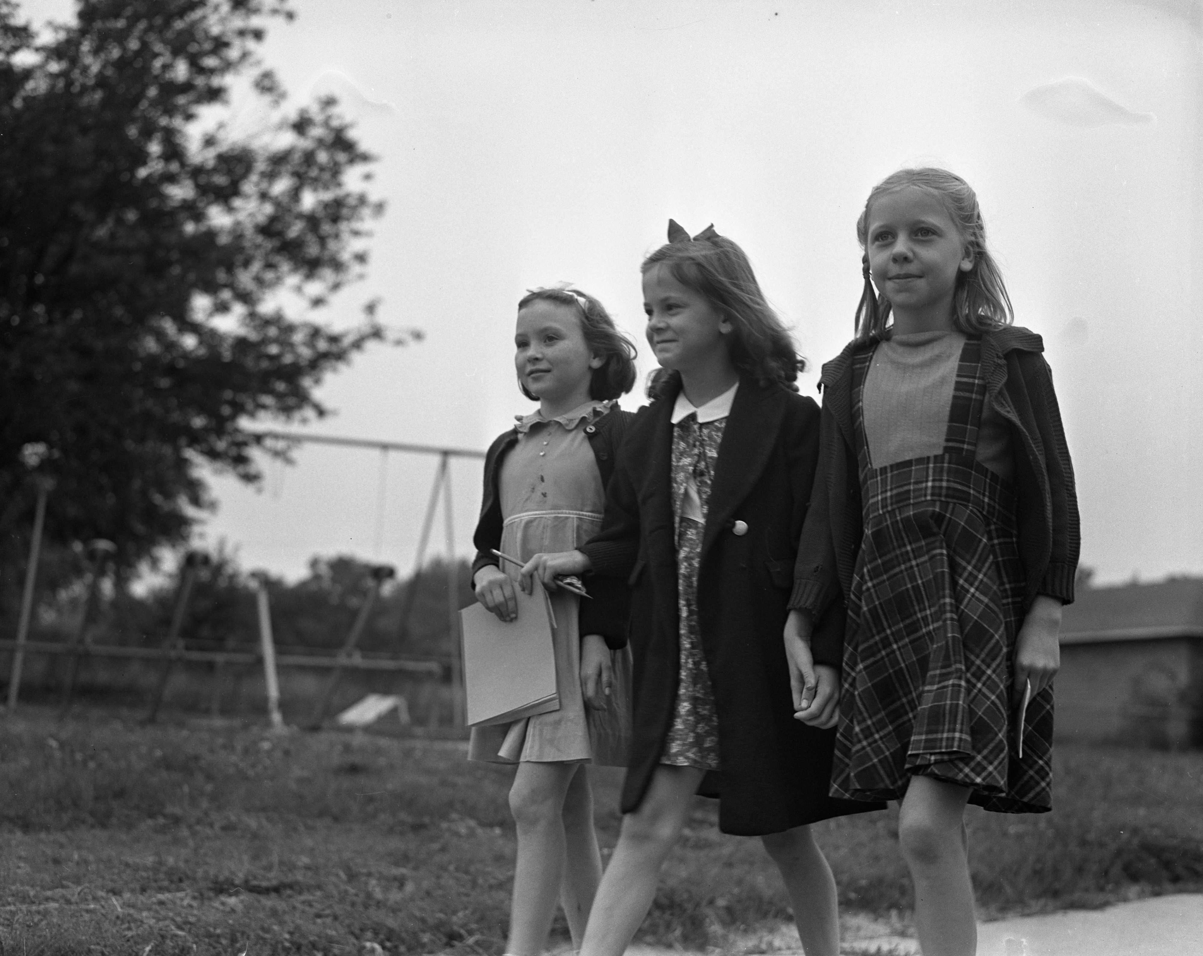 Mack Students Walking On The First Day Of School, September 1940 image