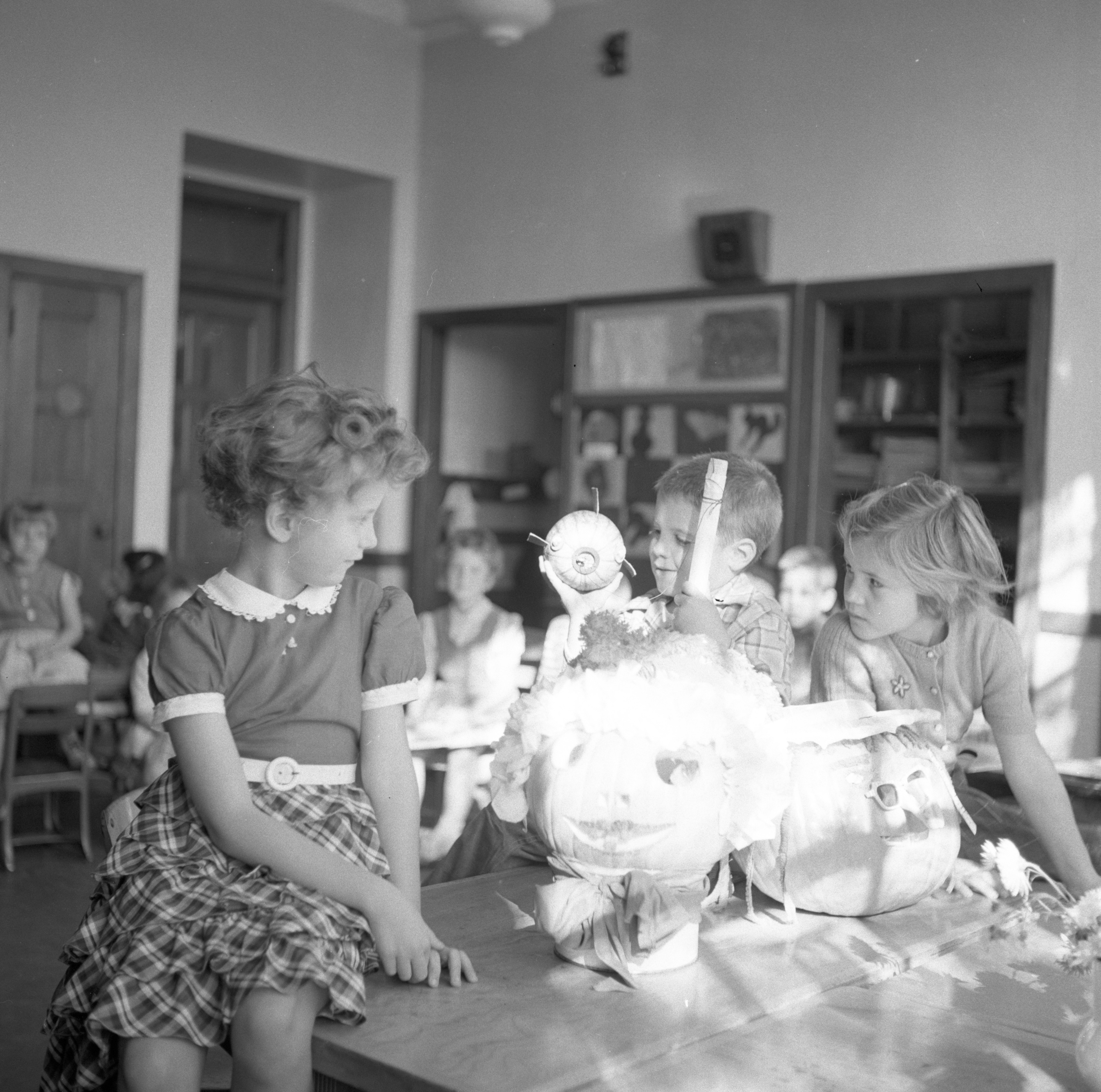 Mack School Students With Halloween Pumpkin Contest Entries, October 1955 image