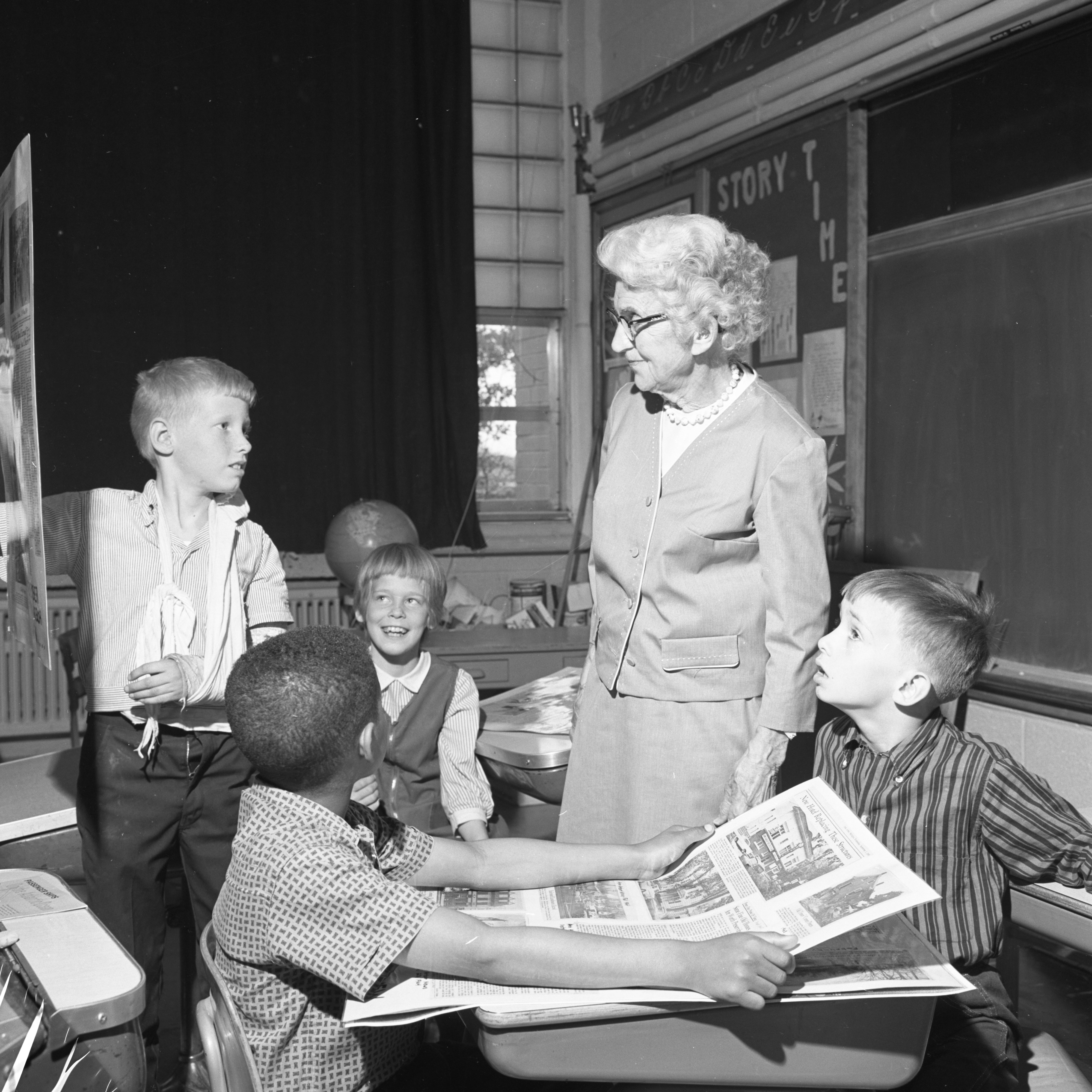 Mary D. Mitchell Visits Mitchell School, May 1966 image