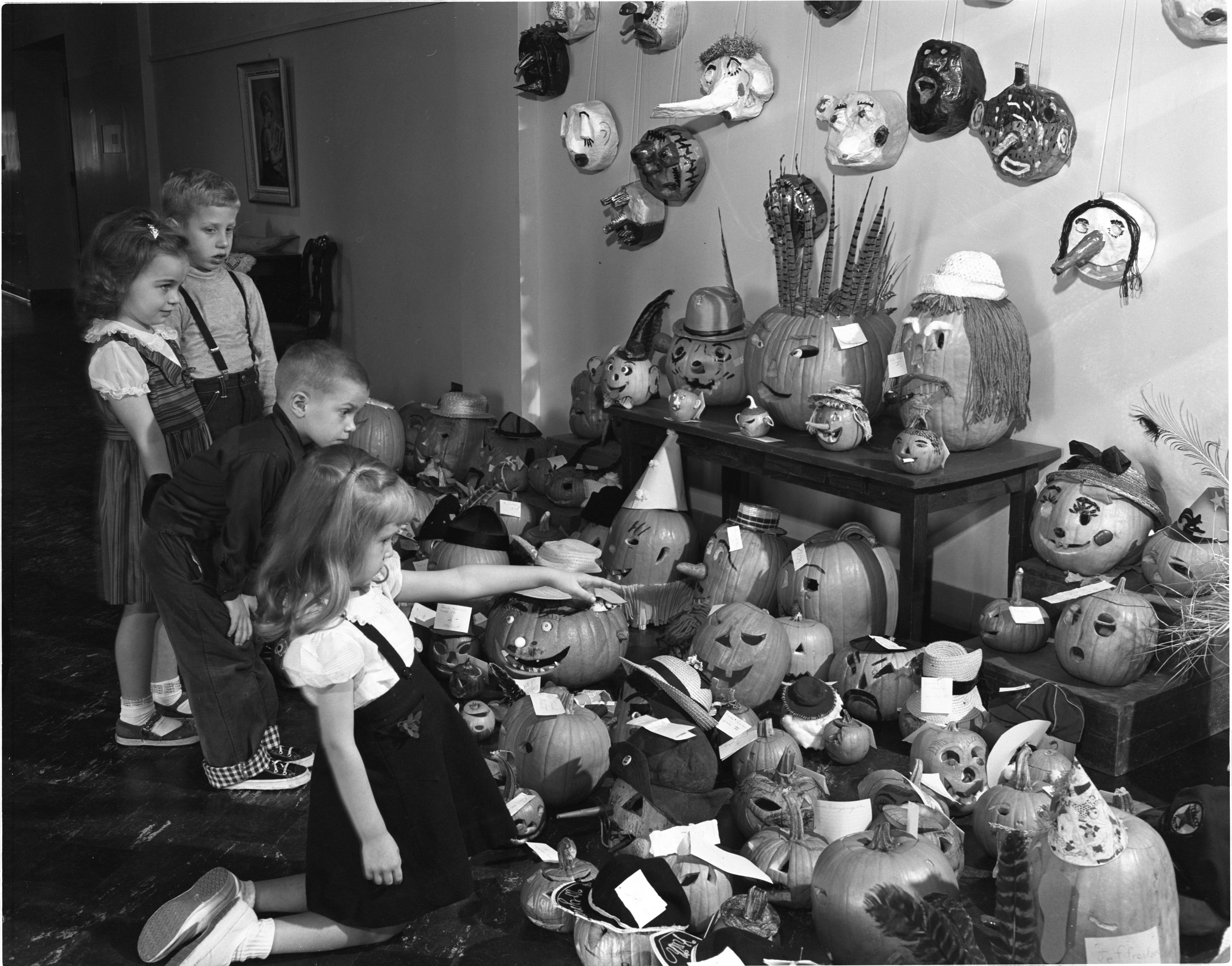 Jack O'Lantern Display At Northside School, October 1953 image