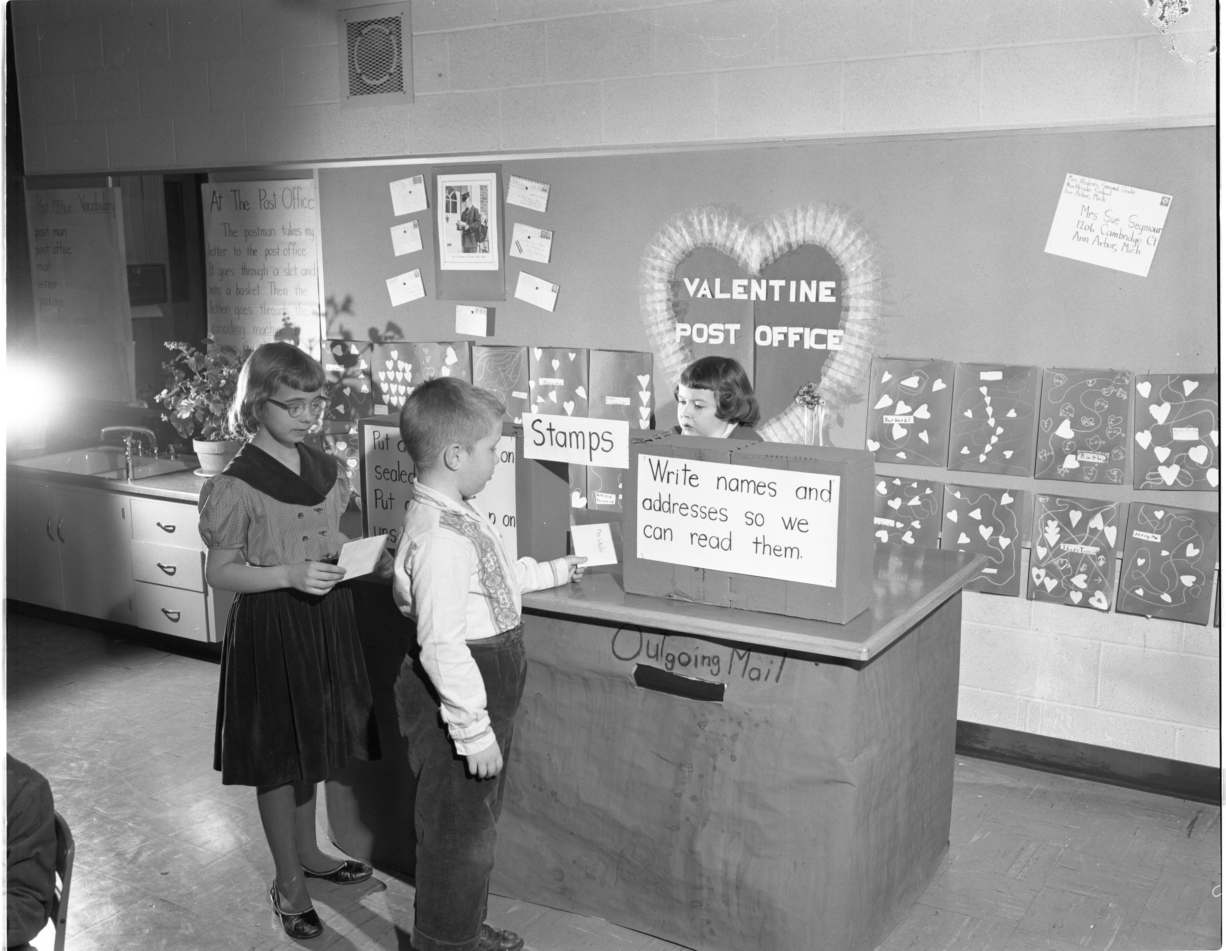 Valentine Post Office At Northside School, February 1957 image