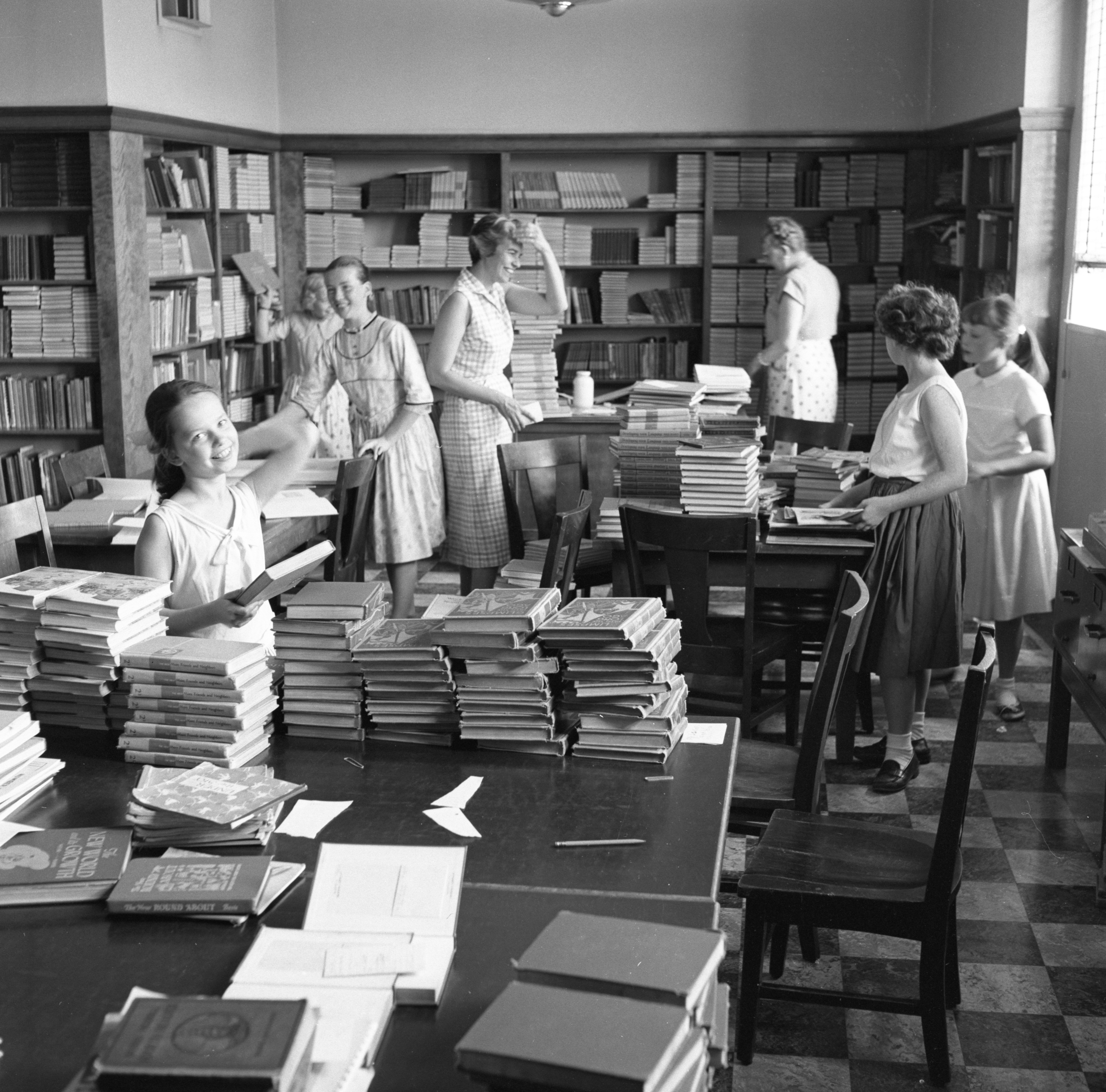 Image from Students Help In Northside Library On Last Day Of School, June 1957