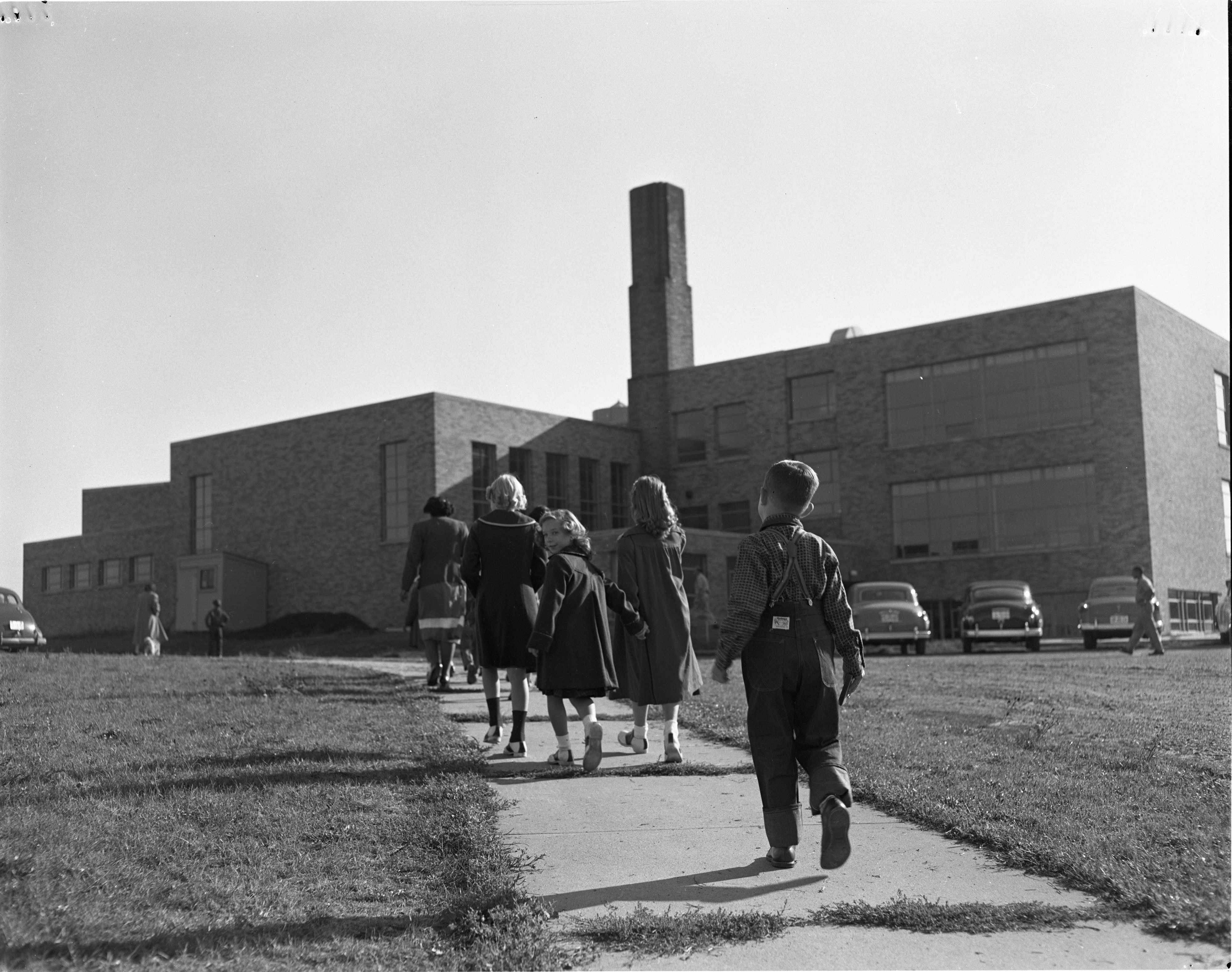Students Arrive For First Day Of School Year At Northside School, September 1952 image