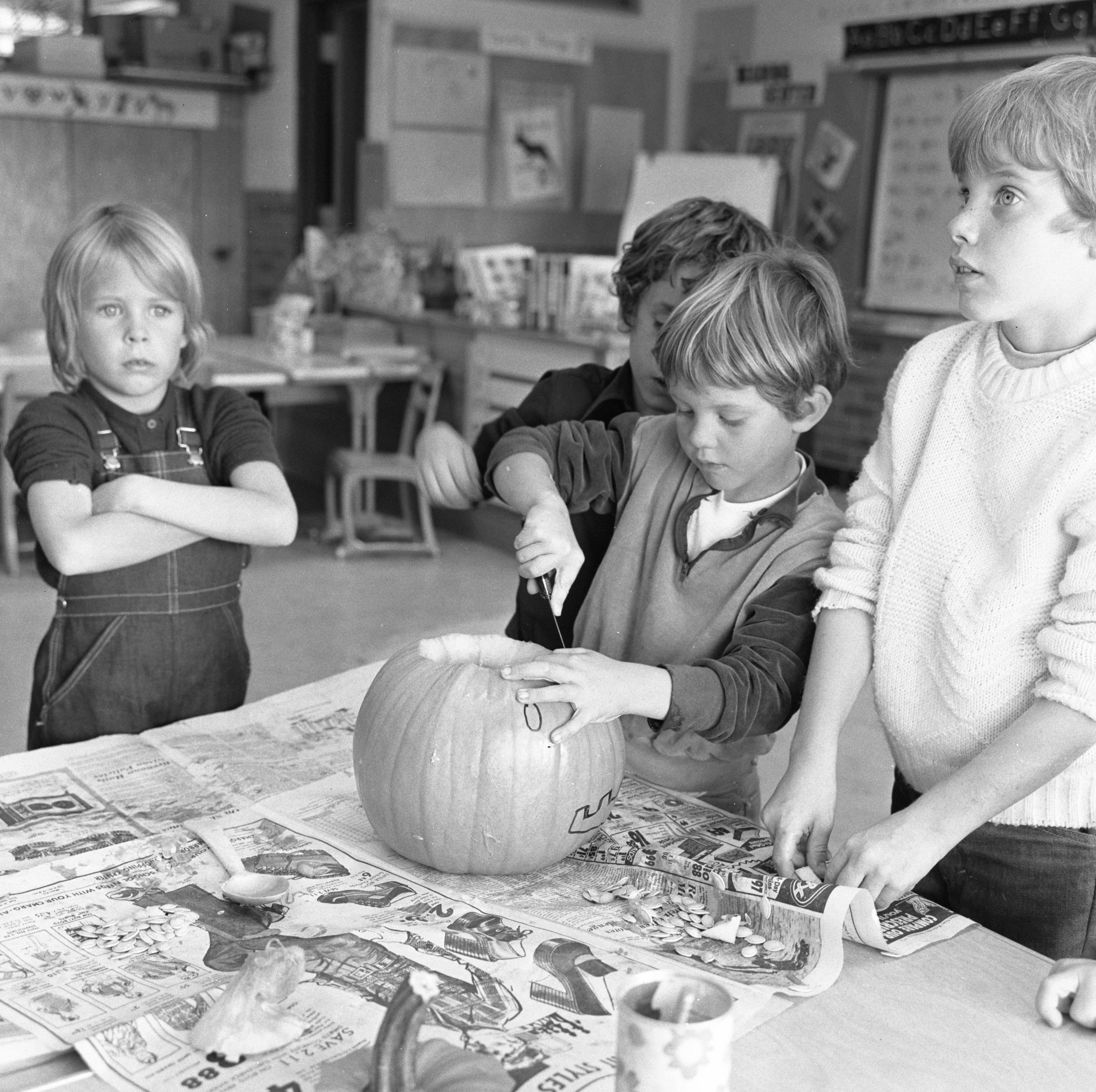 Pattengill Elementary Students Carve Halloween Pumpkins, October 1973 image