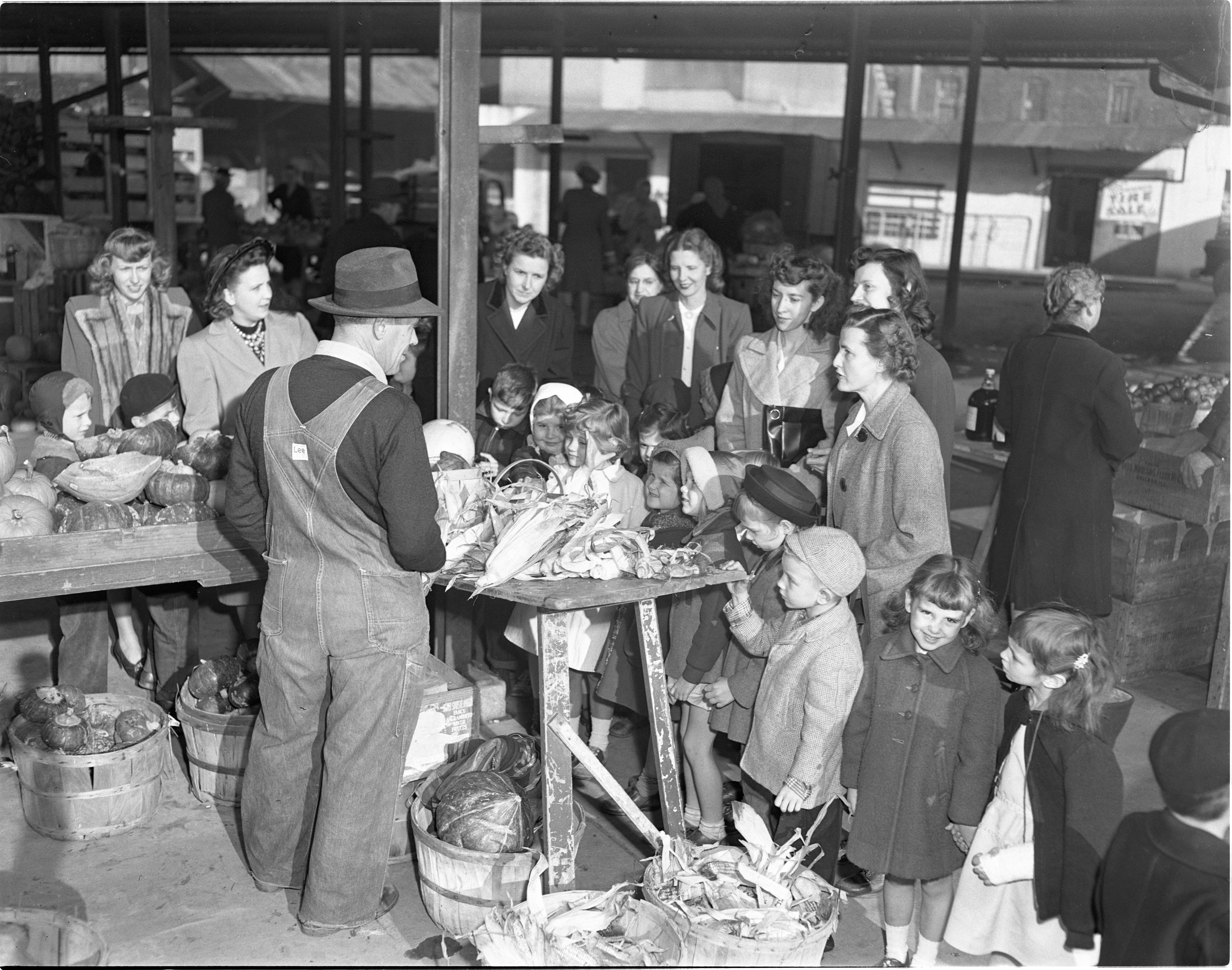 Perry School First Graders Shop At Farmers Market, October 1948 image