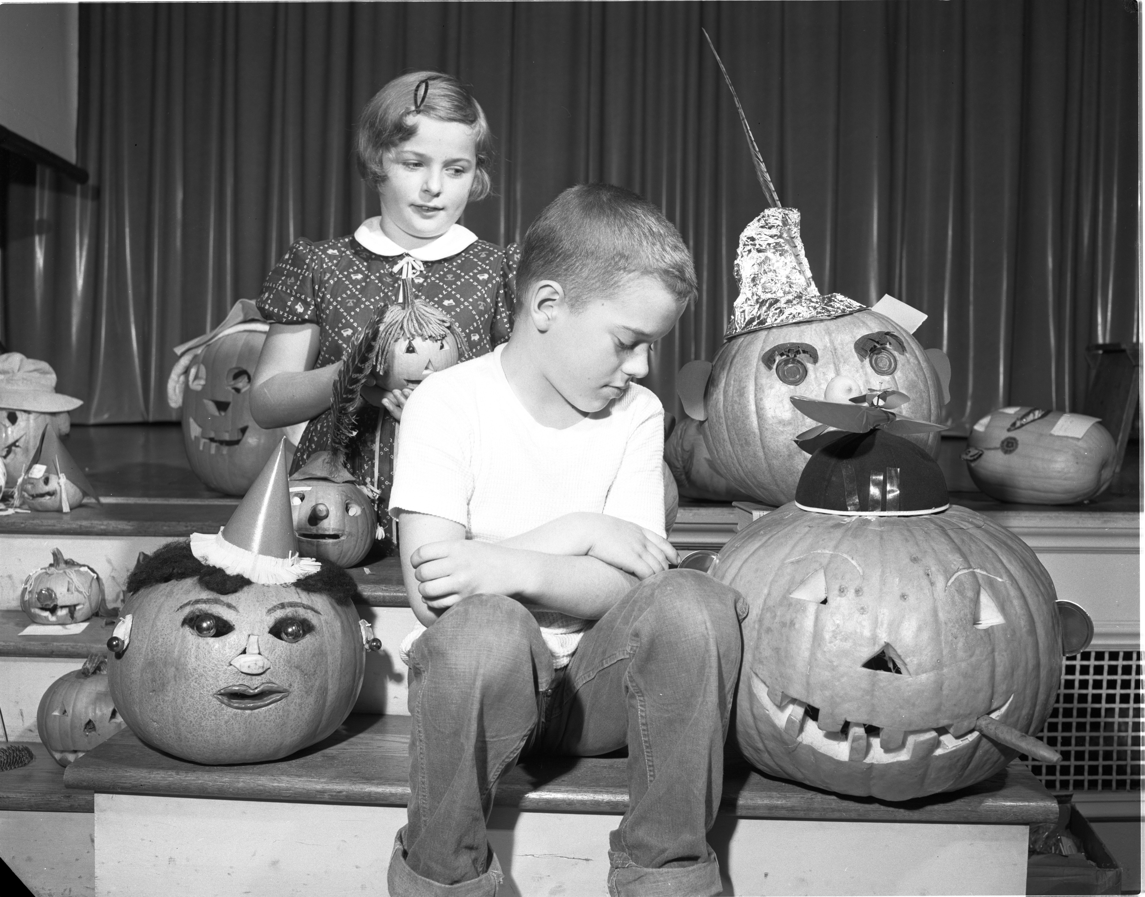 Pumpkin Contest Winners At Perry School, October 1954 image