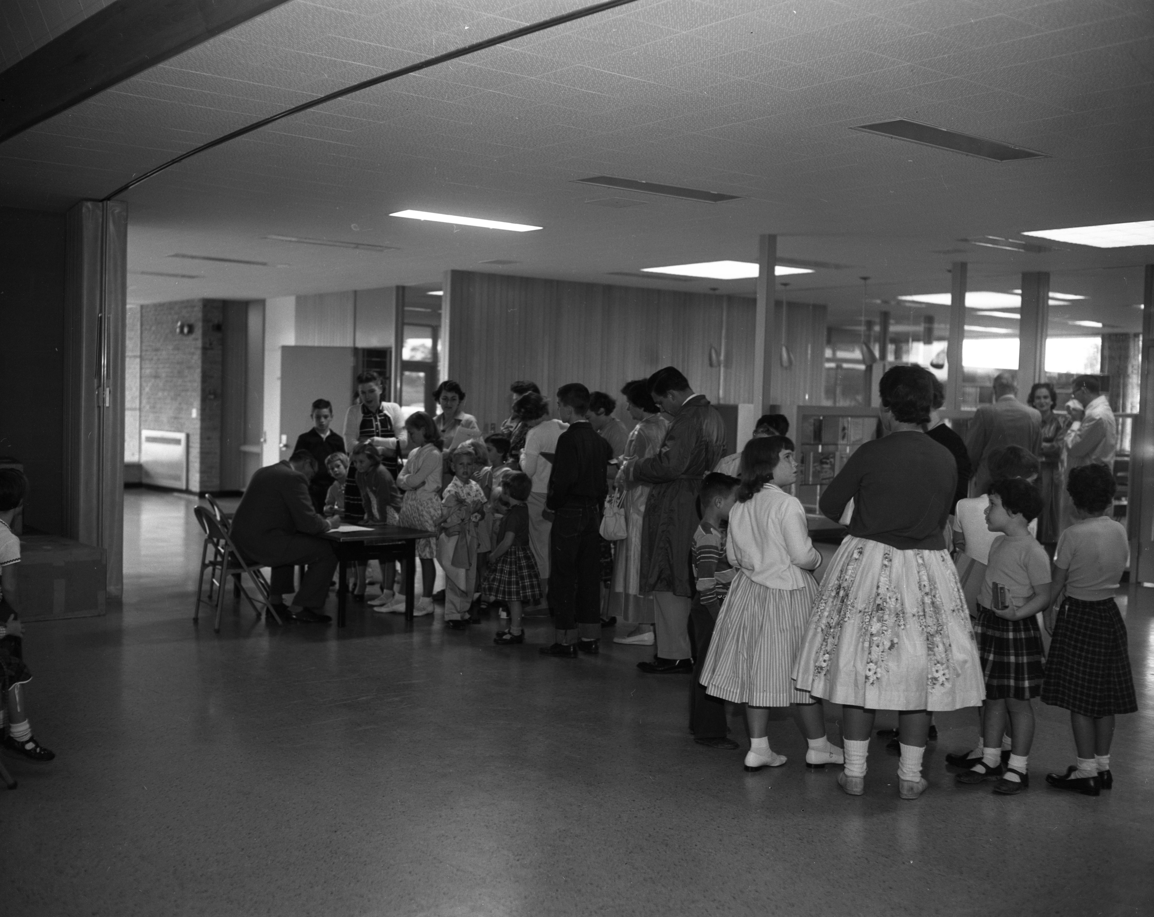 Registration Underway On First Day at New Wines Elementary School, September 1957 image