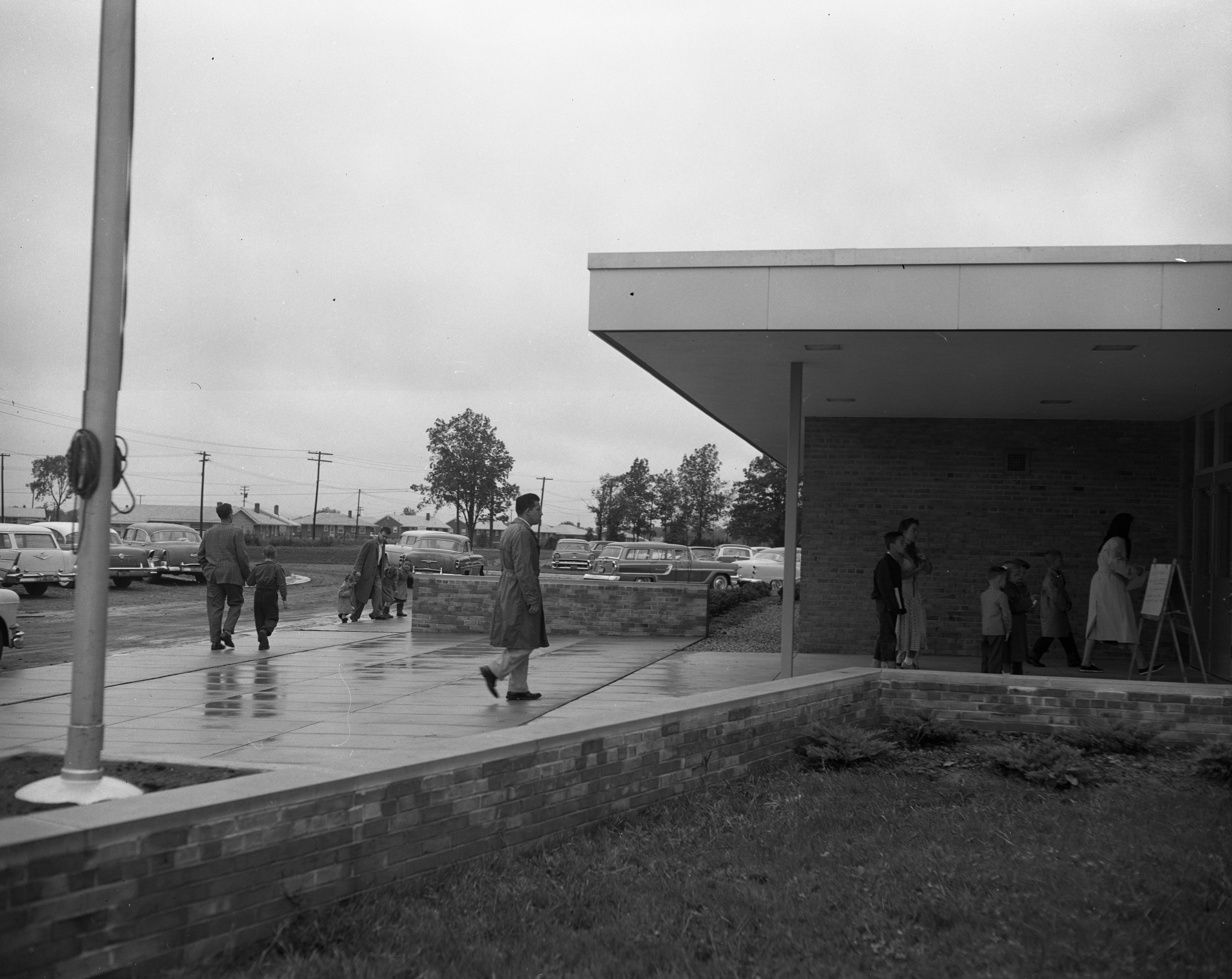 Rainy First Day at New Wines Elementary School, September 1957 image